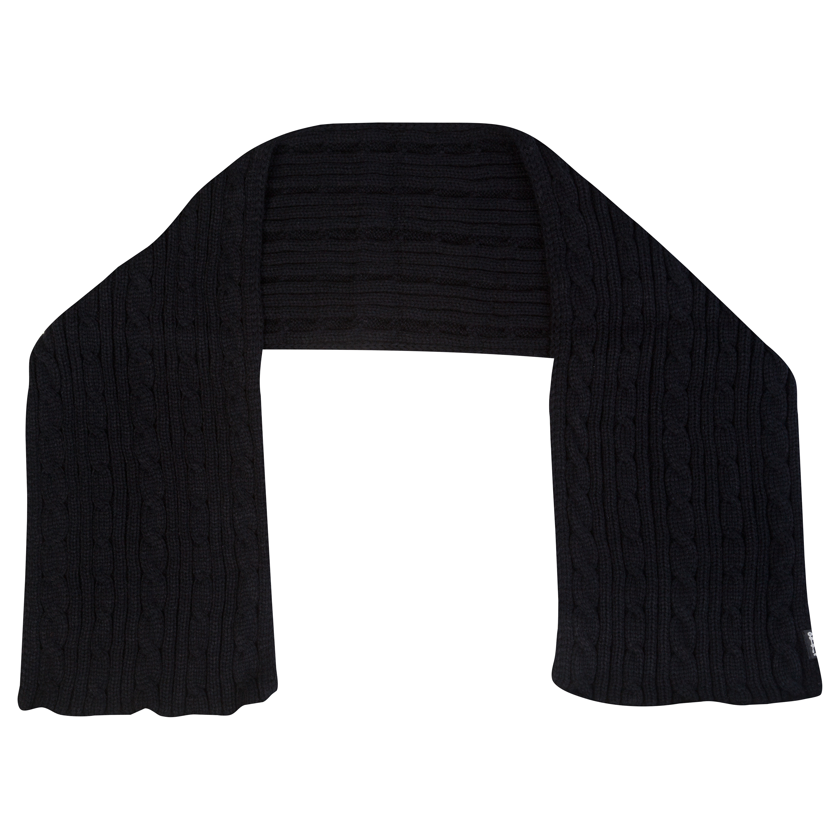 Chelsea Cable Knit Fashion Scarf - Black - Mens