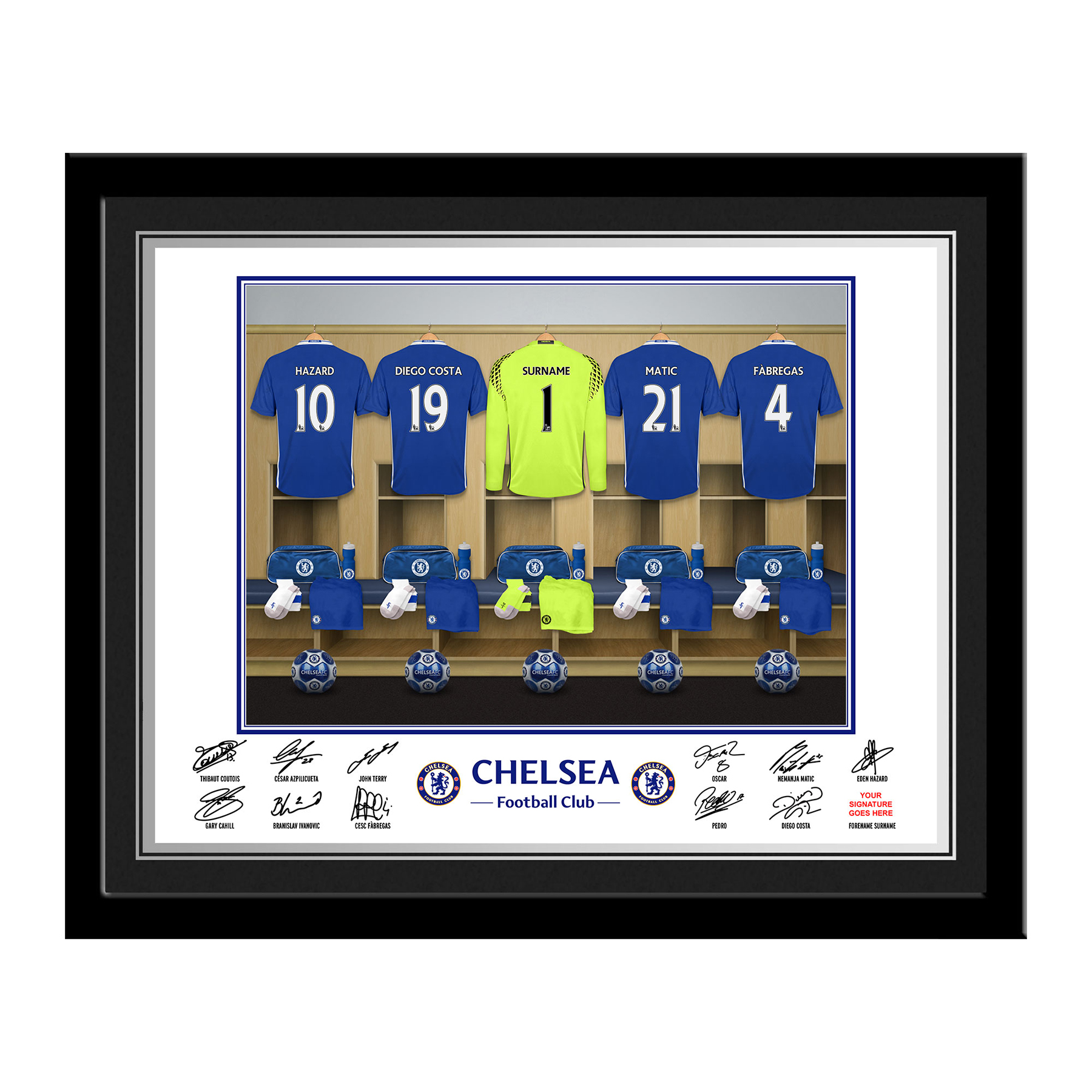 Chelsea Personalised Goal Keeper Dressing Room Photo Framed