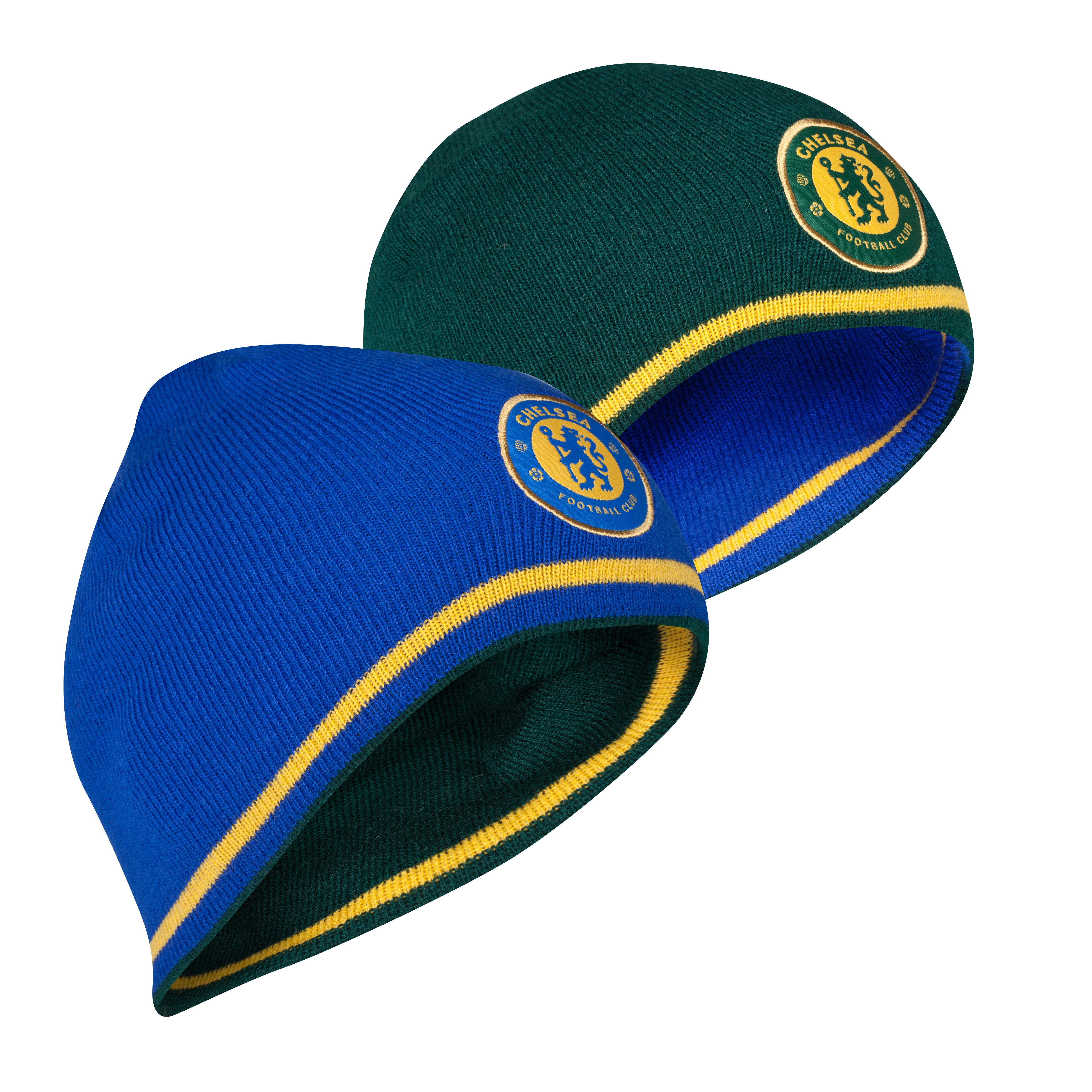 Chelsea Reversible Tipping Roll Down Beanie - Reflex Blue/Forest Green