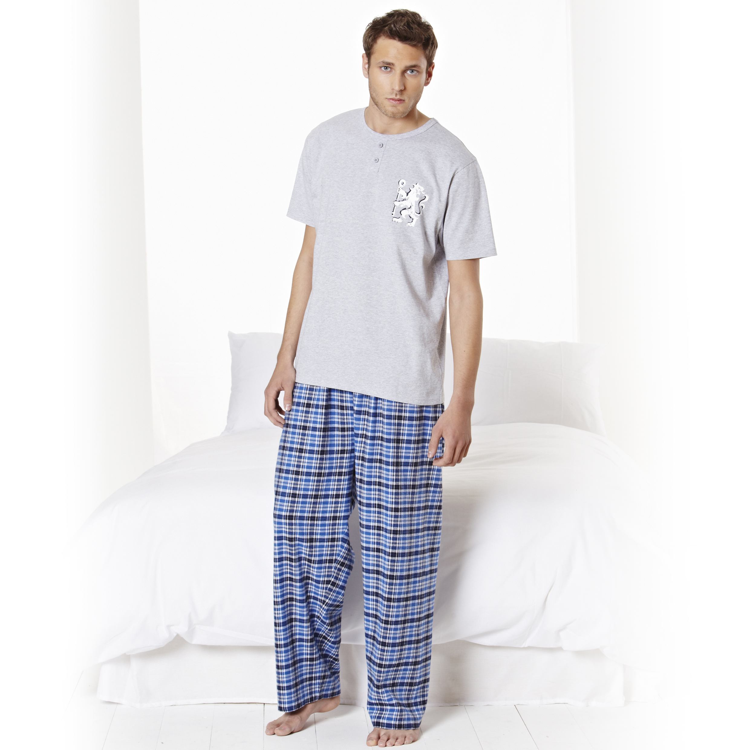 Chelsea Long Checked Pyjamas - Grey Marl/Navy - Mens