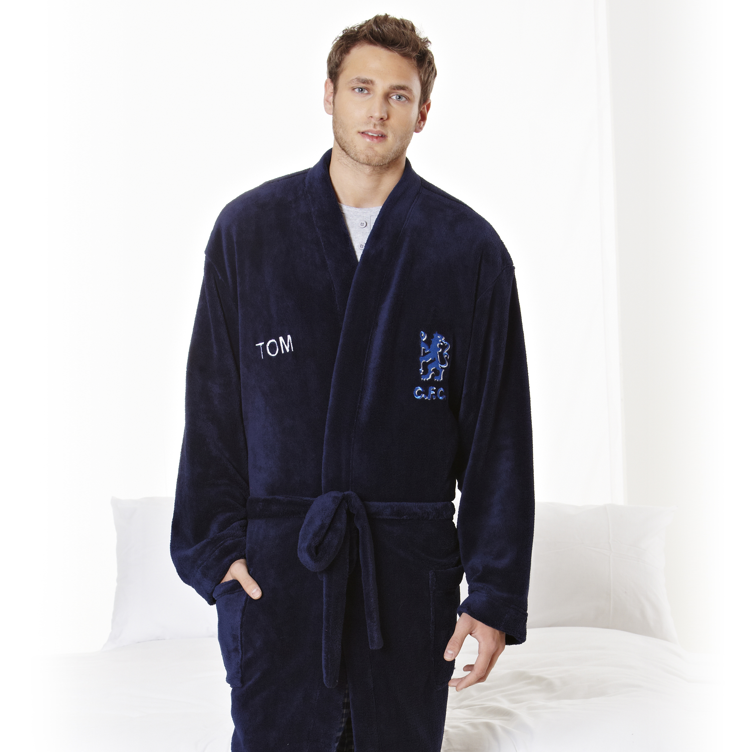Chelsea Supersoft Lion Logo Robe - Navy - Mens