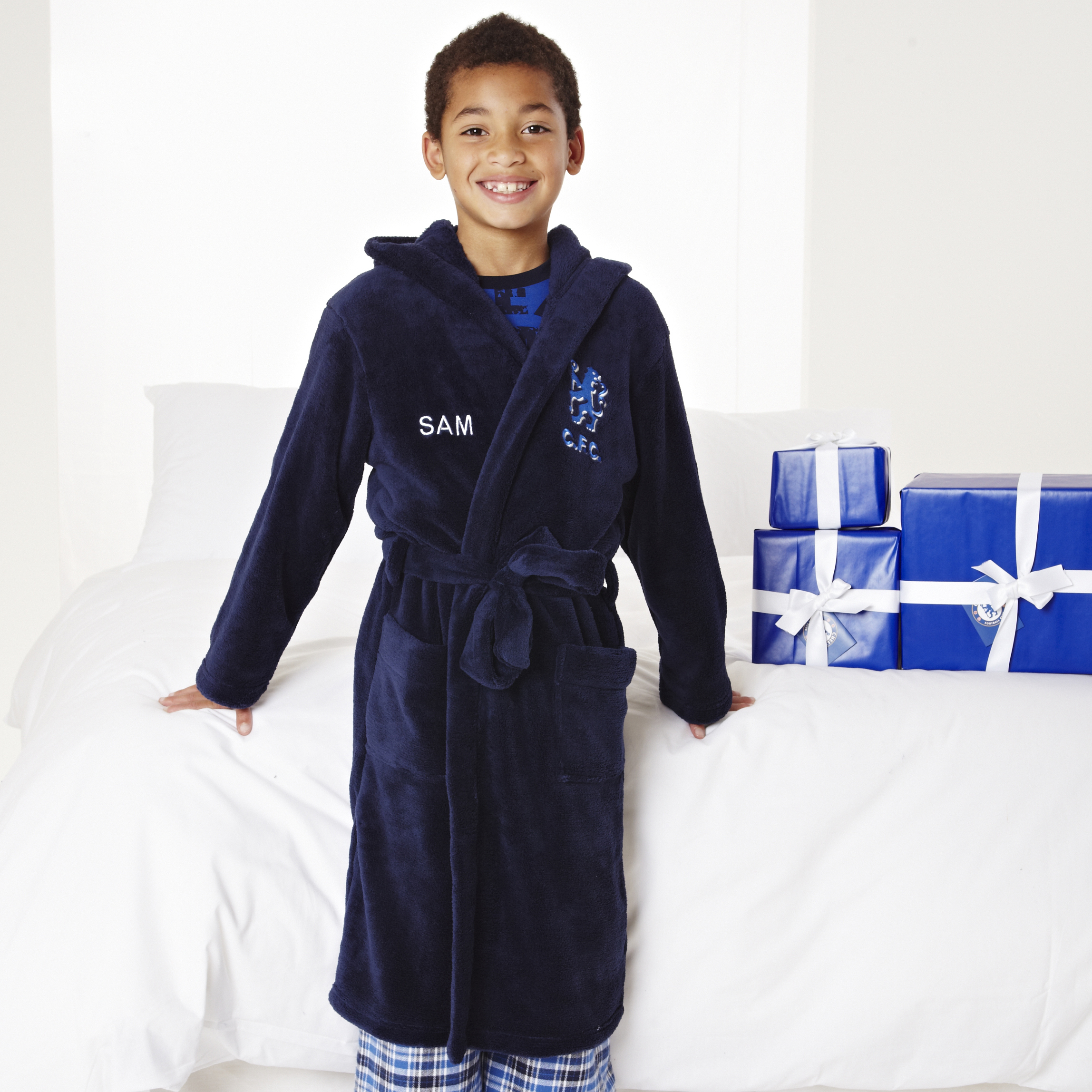 Chelsea Supersoft Lion Logo Hooded Robe - Navy - Older Boys