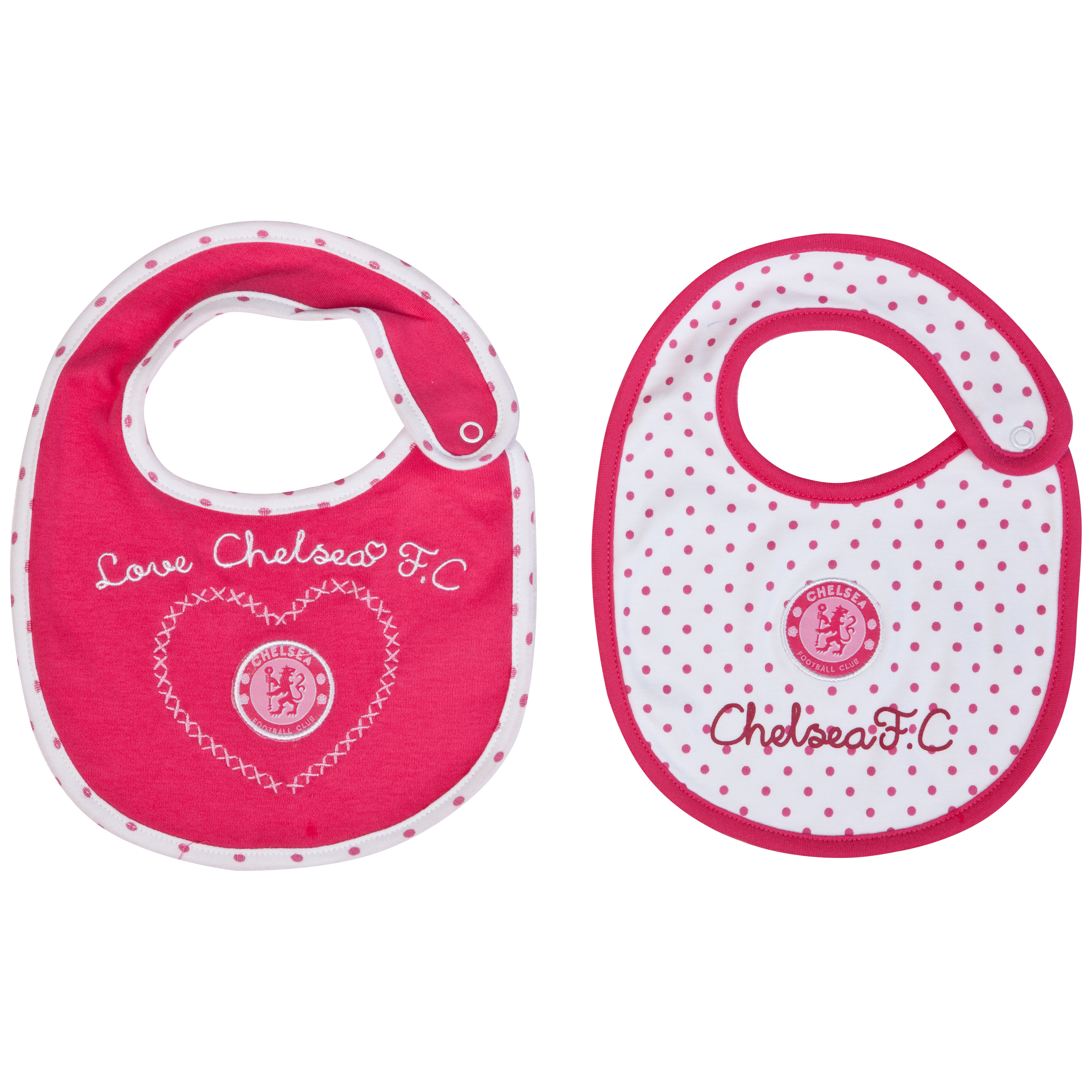 Chelsea Spotty 2 Pack Bibs - White/Passion Pink - Baby Girls