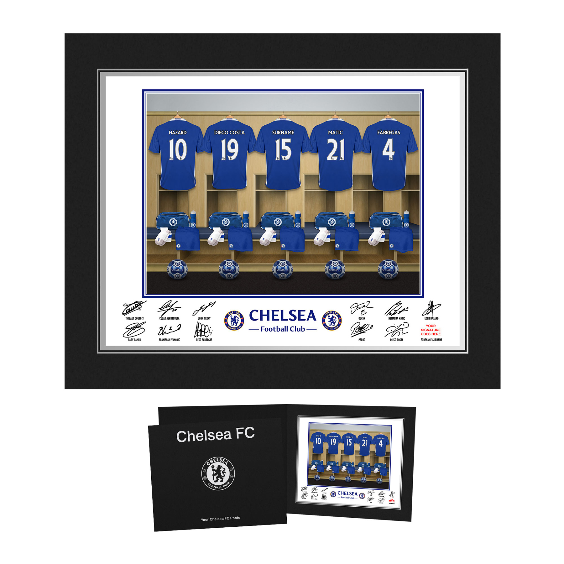 Chelsea Personalised Dressing Room Photo in Presentation Folder