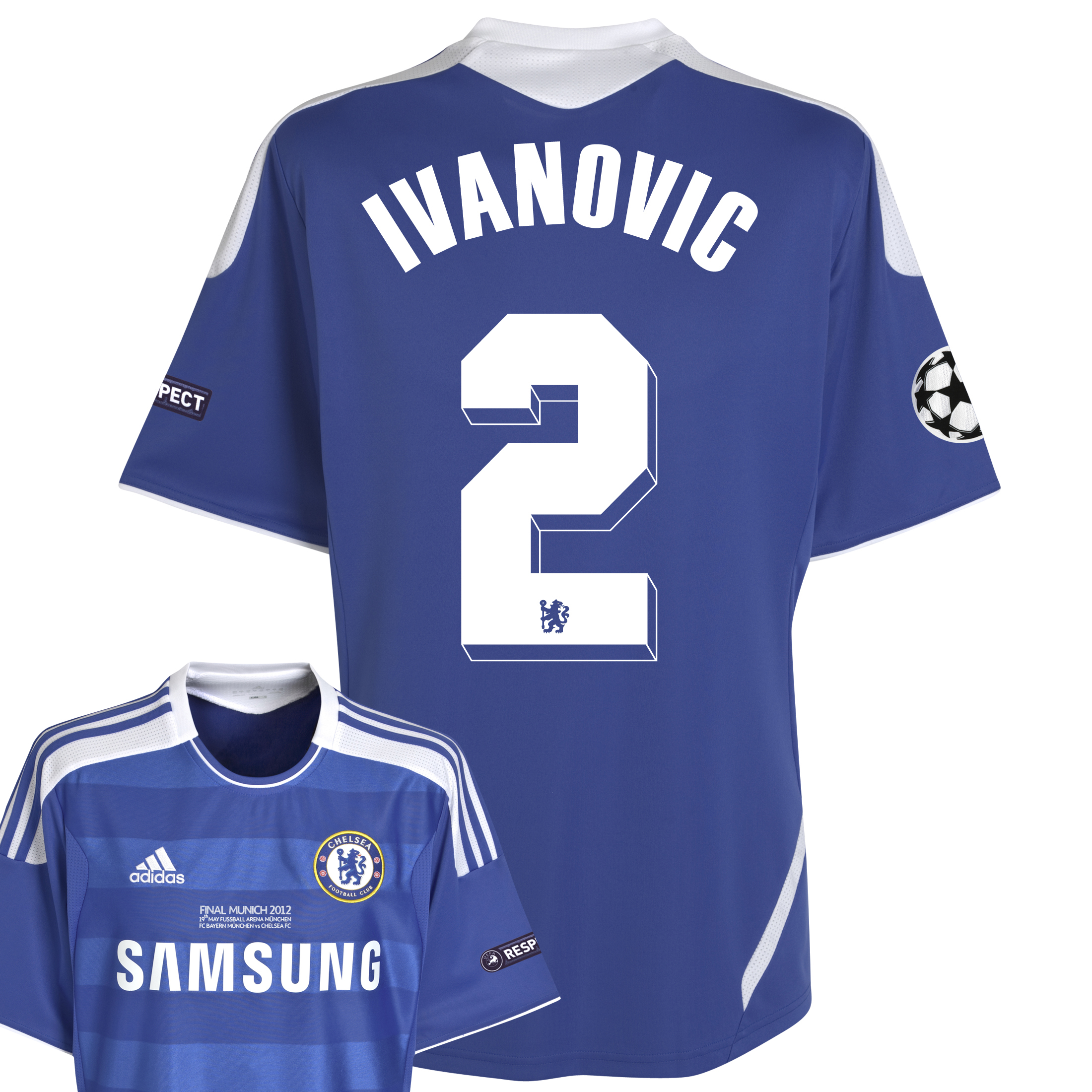 Chelsea Home Shirt 2011/12 Including Champions League Final Embroidery - Kids with Ivanovic 2 printing