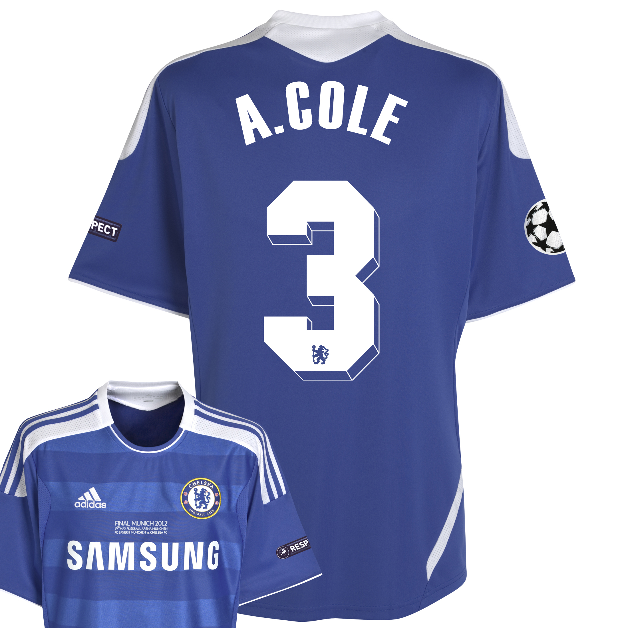 Chelsea Home Shirt 2011/12 Including Champions League Final Embroidery - Kids with A.Cole 3 printing