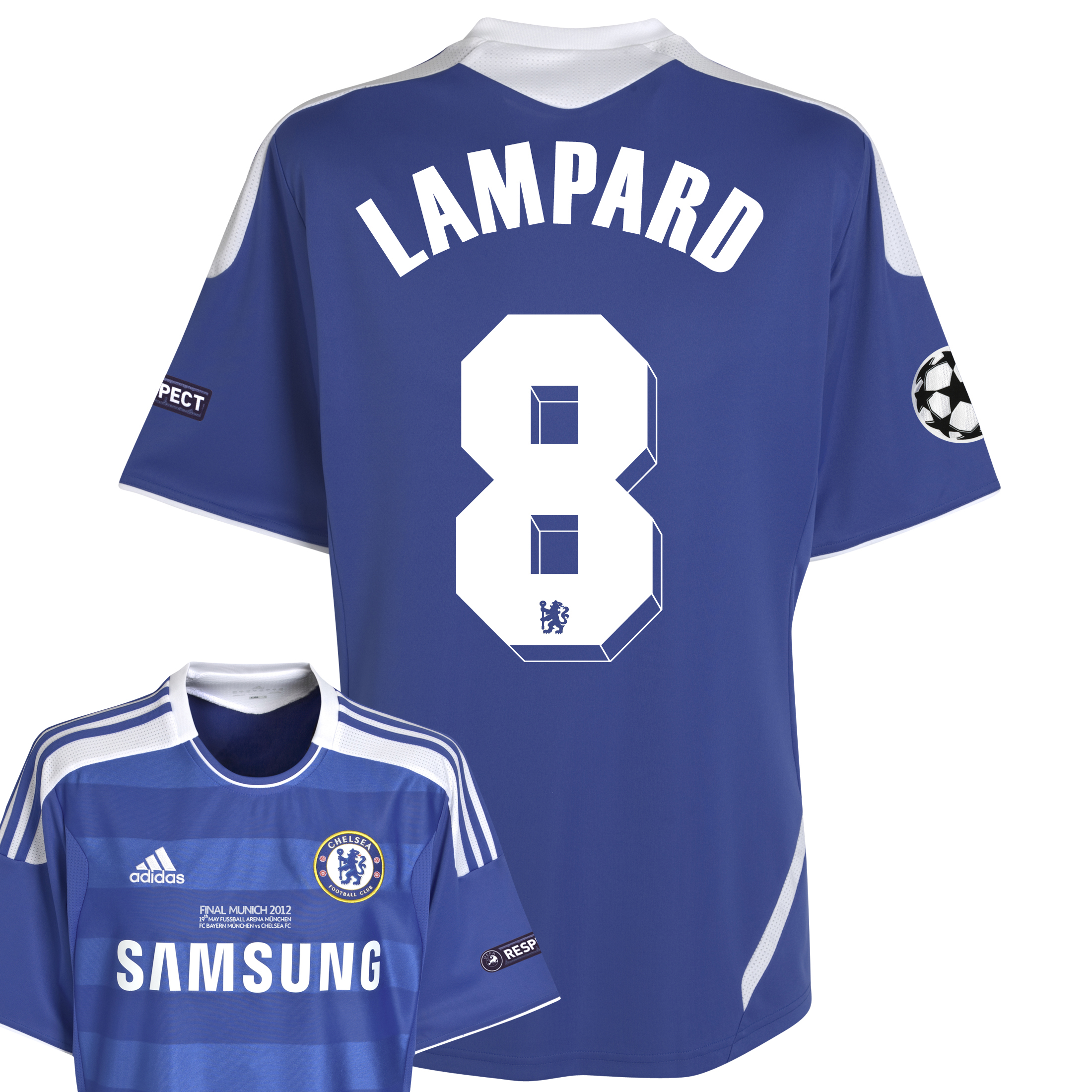 Chelsea Home Shirt 2011/12 Including Champions League Final Embroidery - Kids with Lampard 8 printing