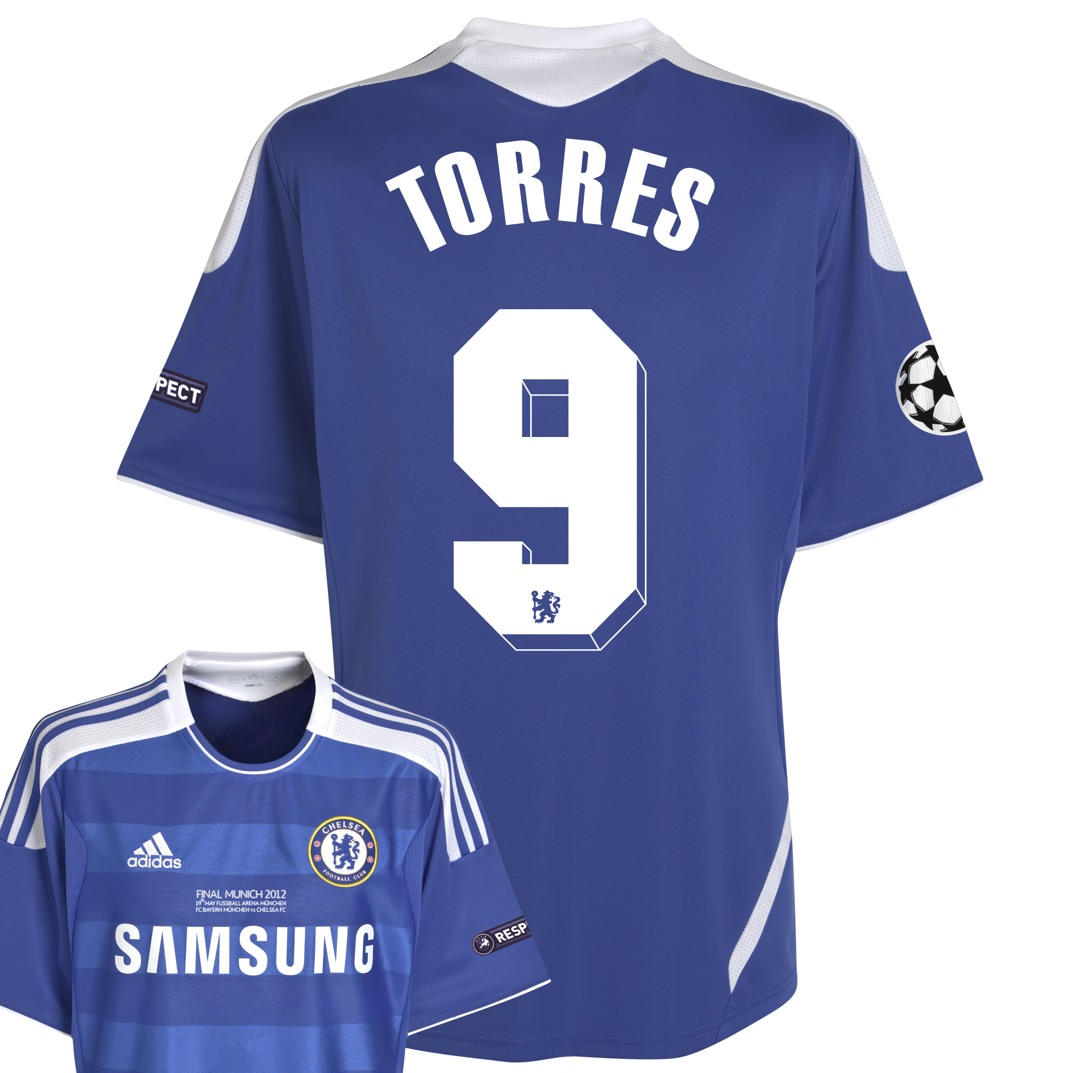 Chelsea Home Shirt 2011/12 Including Champions League Final Embroidery - Kids with Torres 9 printing
