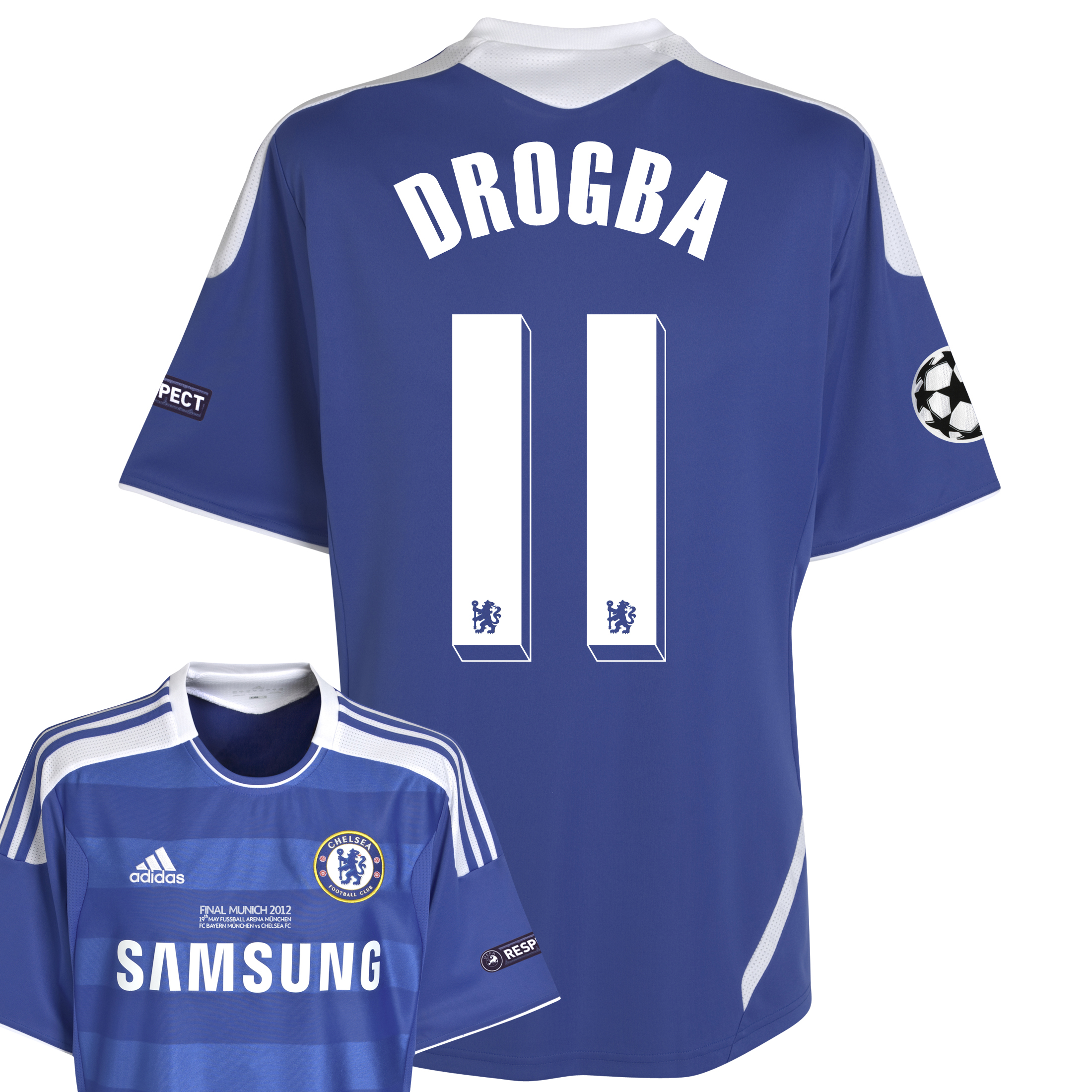 Chelsea Home Shirt 2011/12 Including Champions League Final Embroidery - Kids with Drogba 11 printing