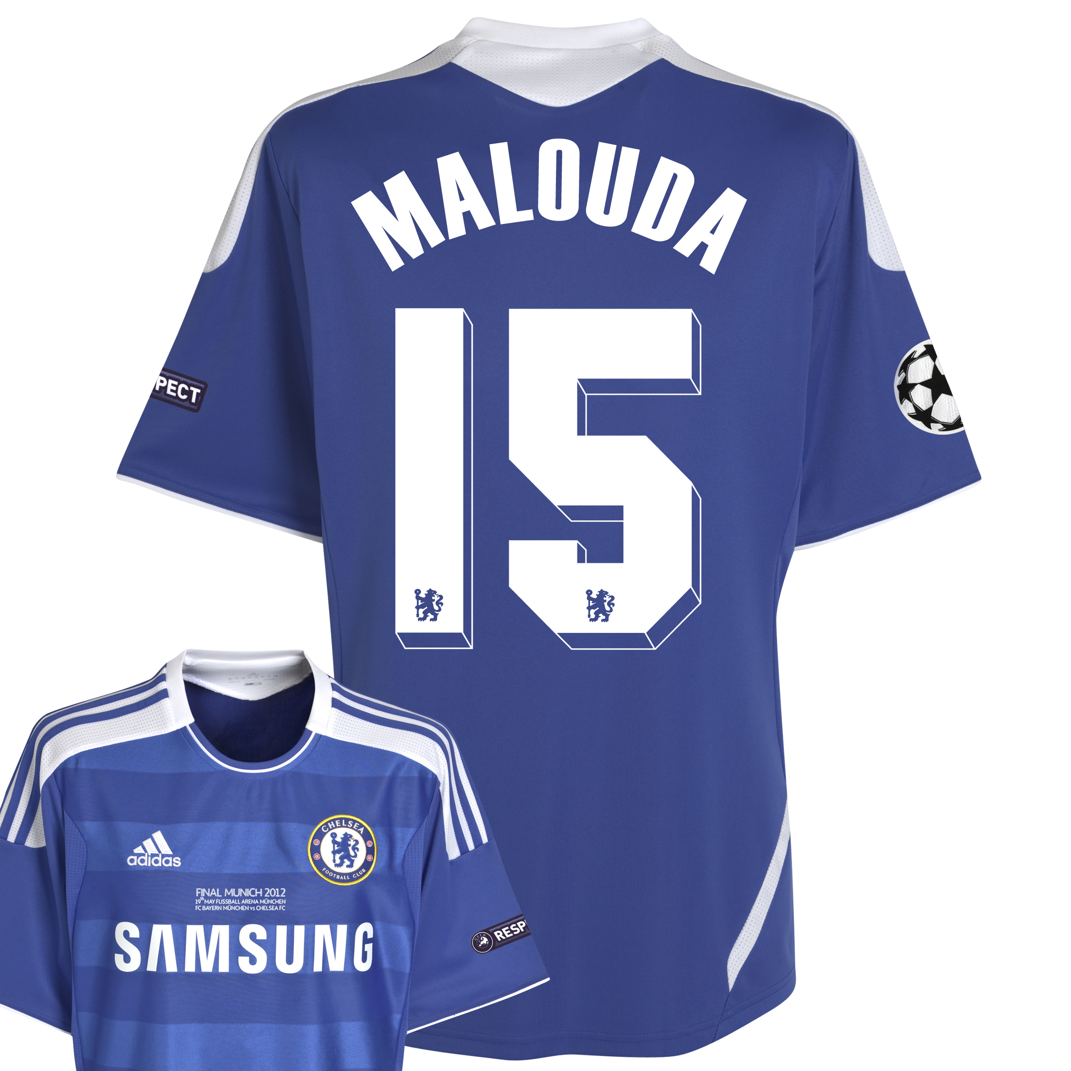 Chelsea Home Shirt 2011/12 Including Champions League Final Embroidery - Kids with Malouda 15 printing