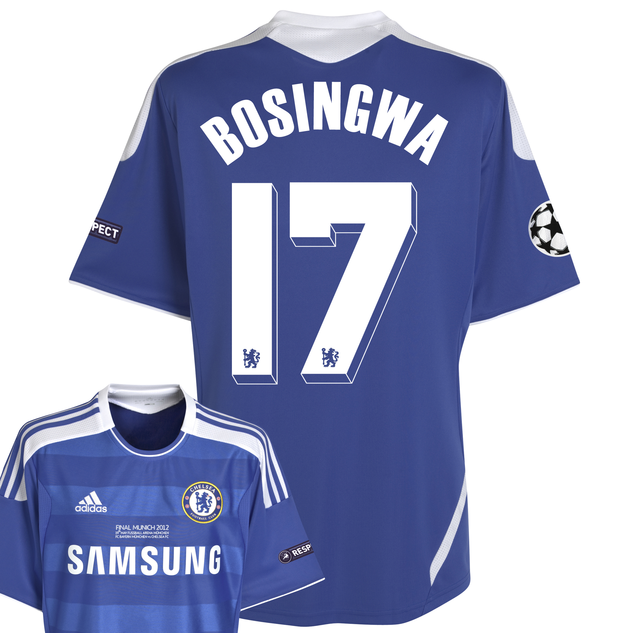 Chelsea Home Shirt 2011/12 Including Champions League Final Embroidery - Kids with Bosingwa 17 printing