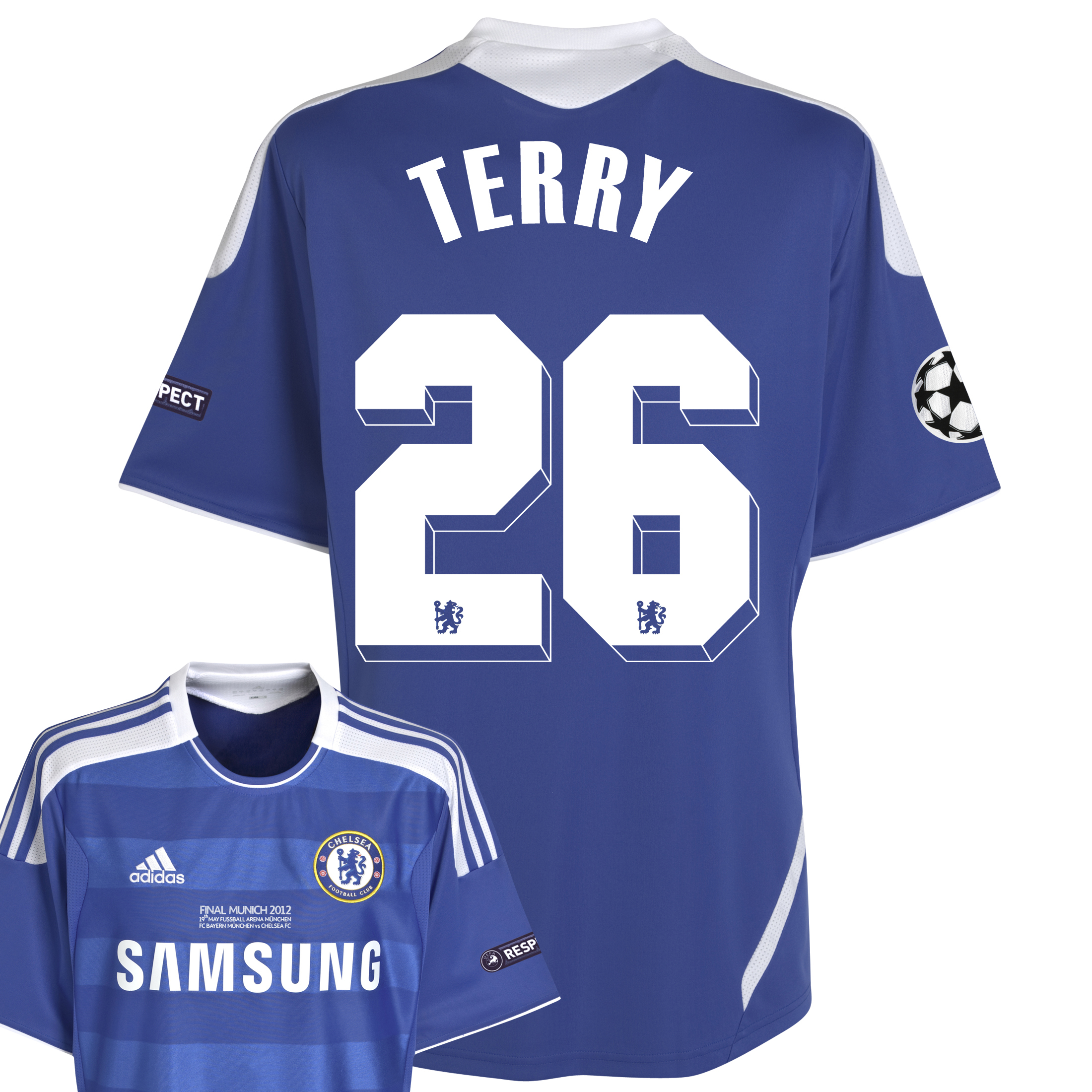 Chelsea Home Shirt 2011/12 Including Champions League Final Embroidery - Kids with Terry 26 printing