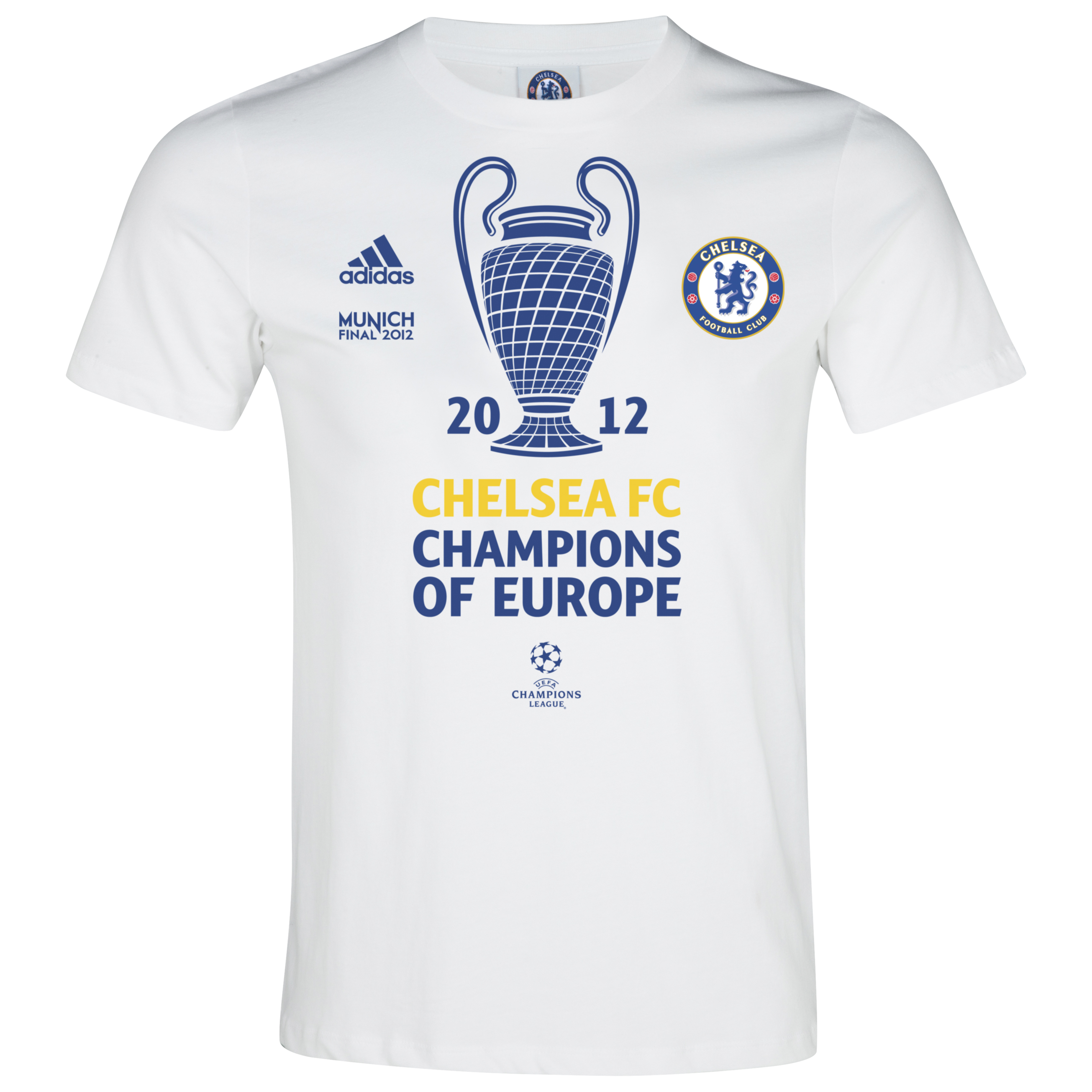 adidas Chelsea UEFA Champions League Winners 2012 T-Shirt - White Vapour