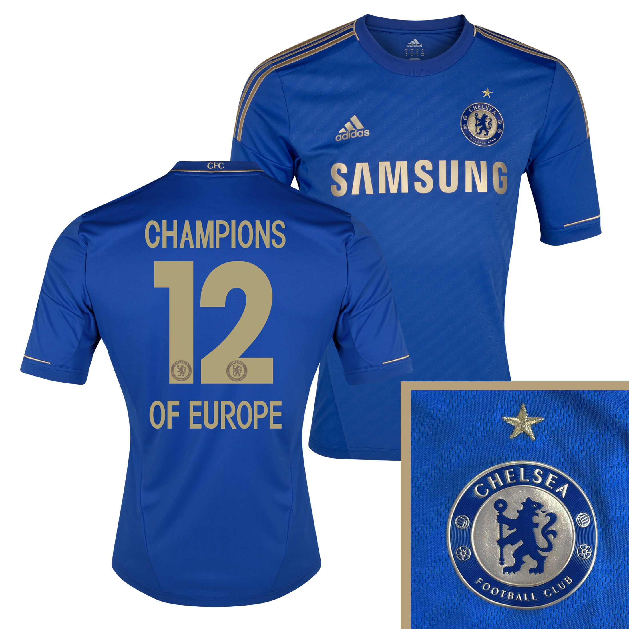Chelsea Home Shirt 2012/13 - Youths with Champions 12 Printing including Gold Star