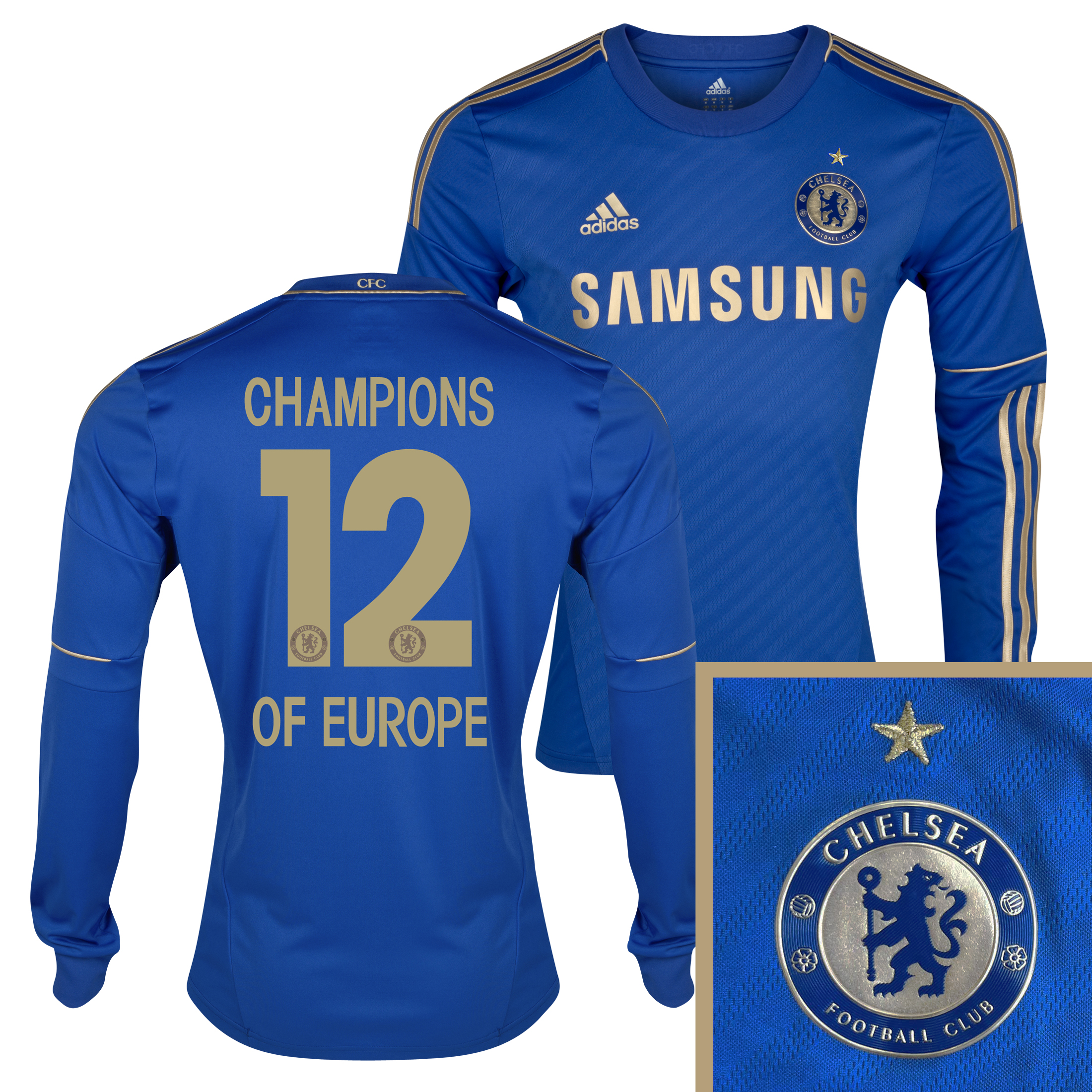 Chelsea Home Shirt 2012/13 - Long Sleeved - Youths with Champions 12 Printing including Gold Star