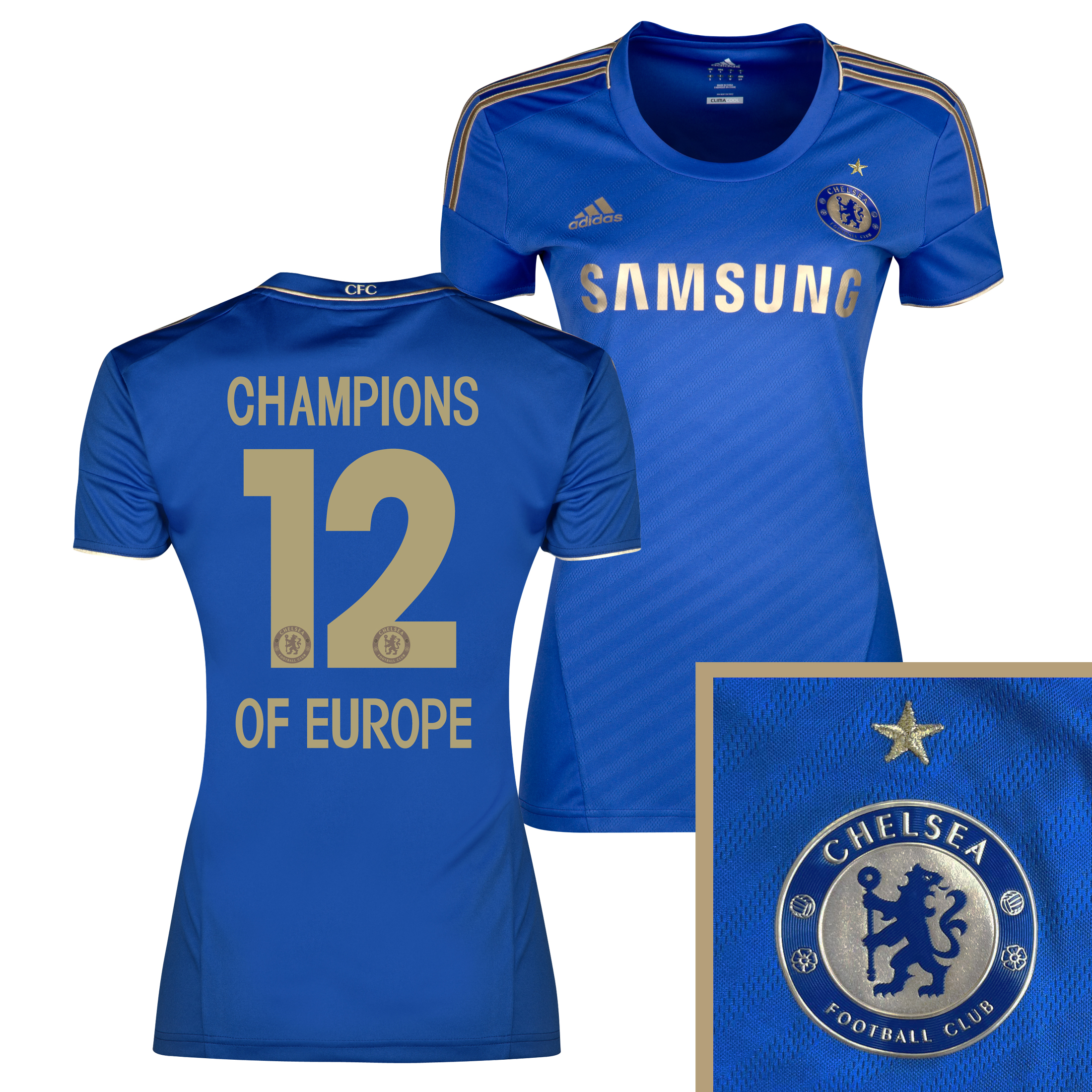 Chelsea Home Shirt 2012/13 - Womens with Champions 12 Printing including Gold Star