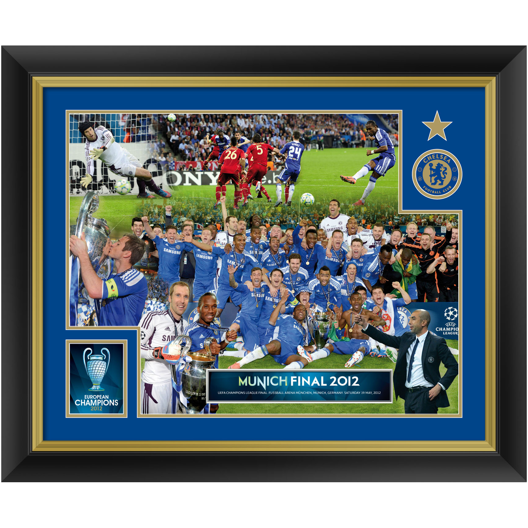 Chelsea Champions Of Europe 2012 Framed Celebration Montage - 20 x 16
