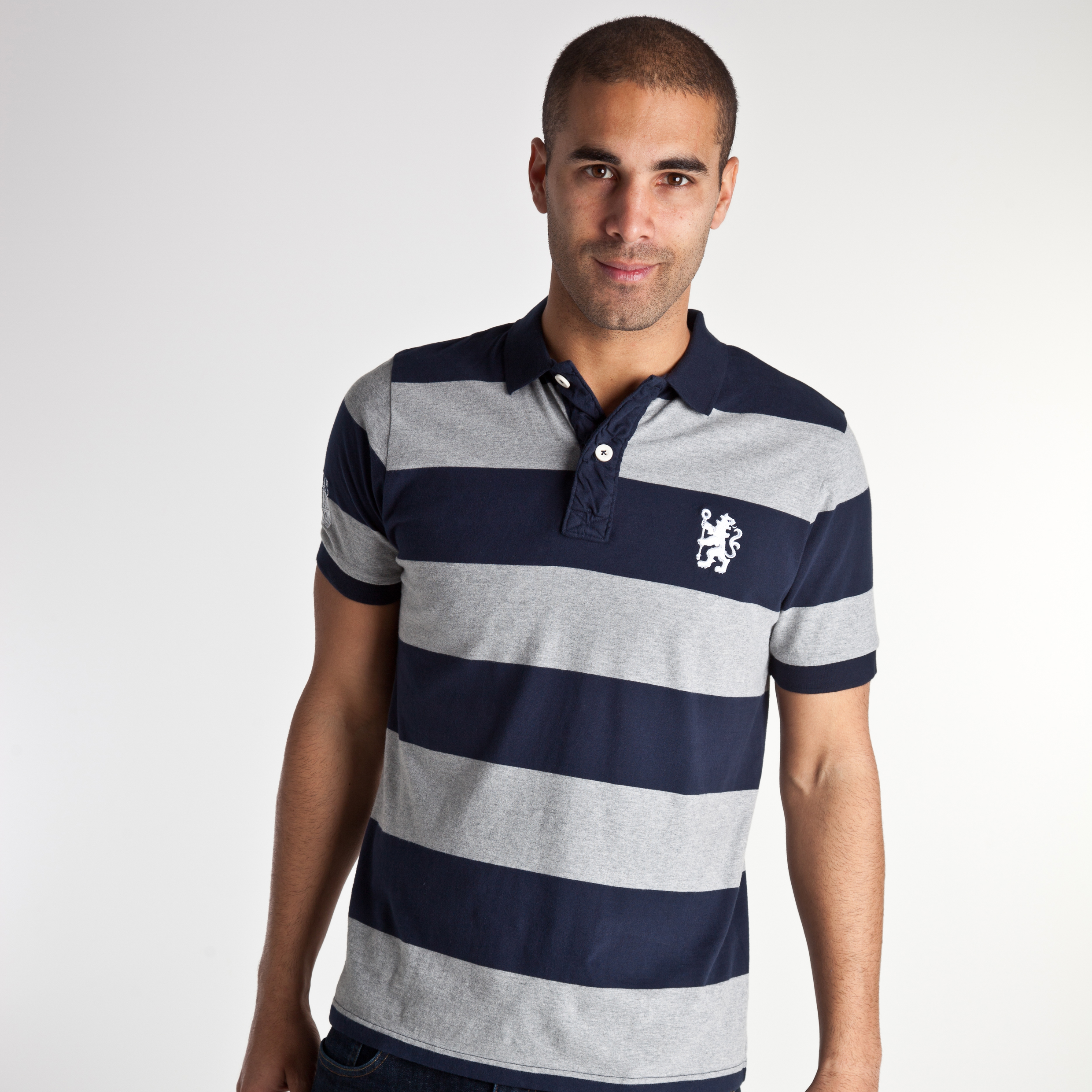 Chelsea 1905 Engineered Striped Polo - Navy/Grey Marl - Mens