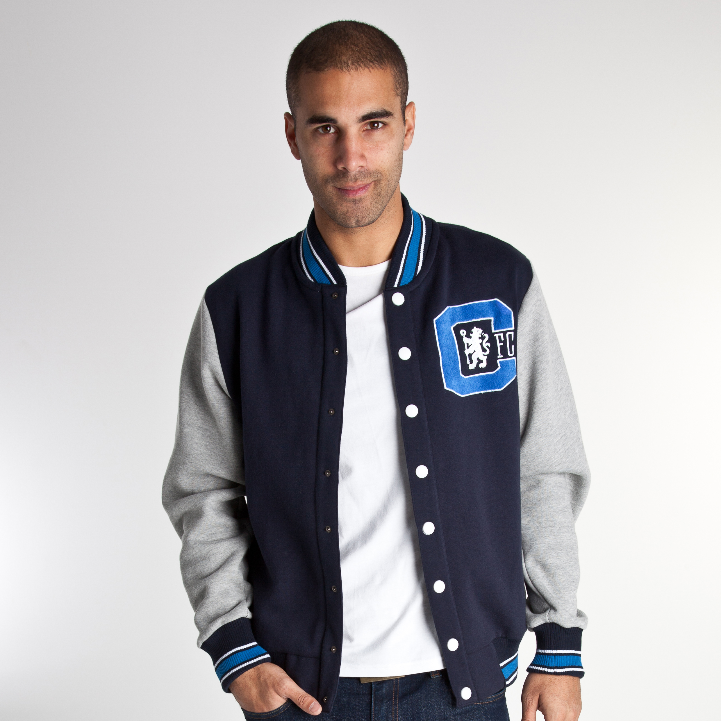Chelsea 1905 Baseball Jacket - Navy/Light Grey - Mens