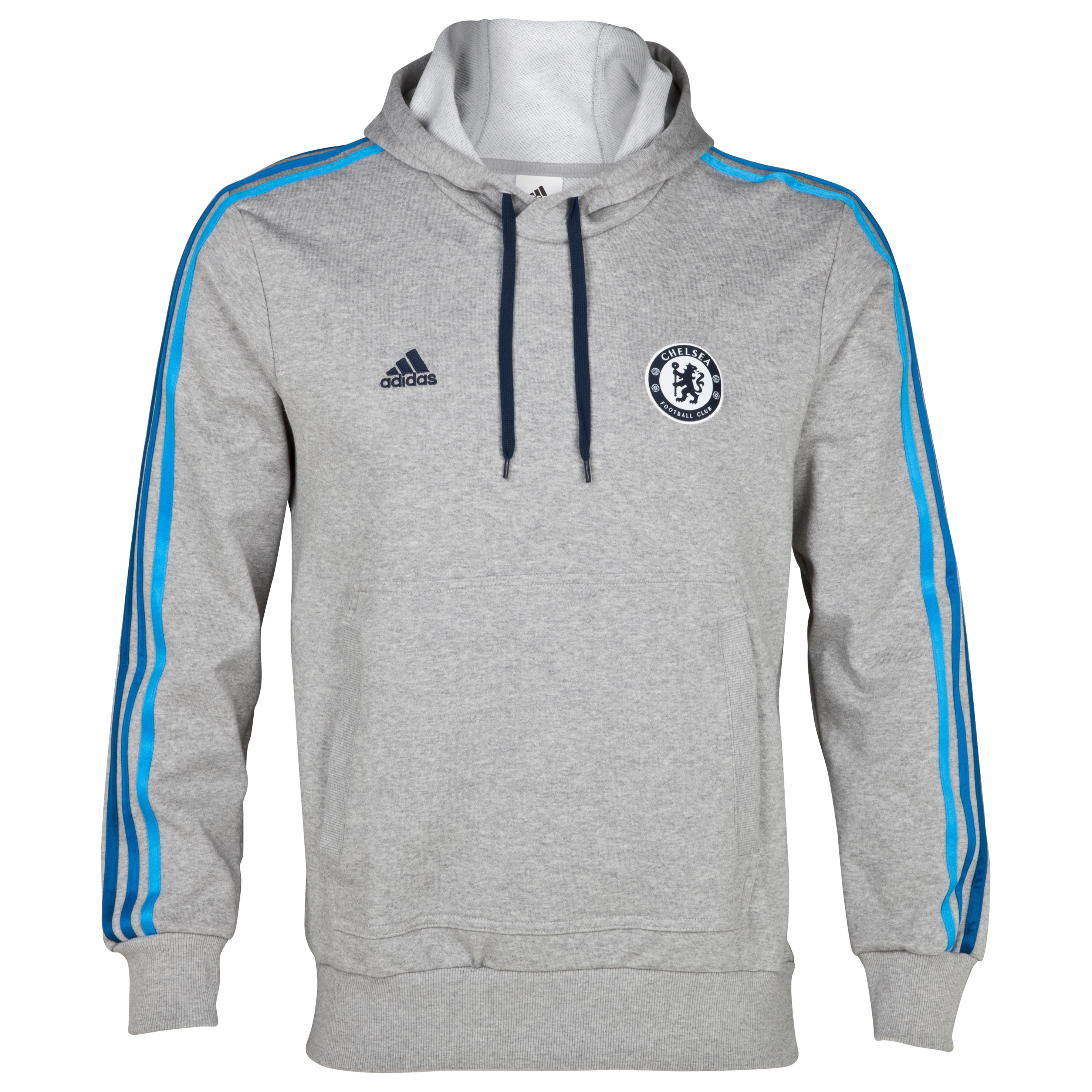adidas Chelsea Core Hooded Top - Medium Grey Heather/Cyan S09