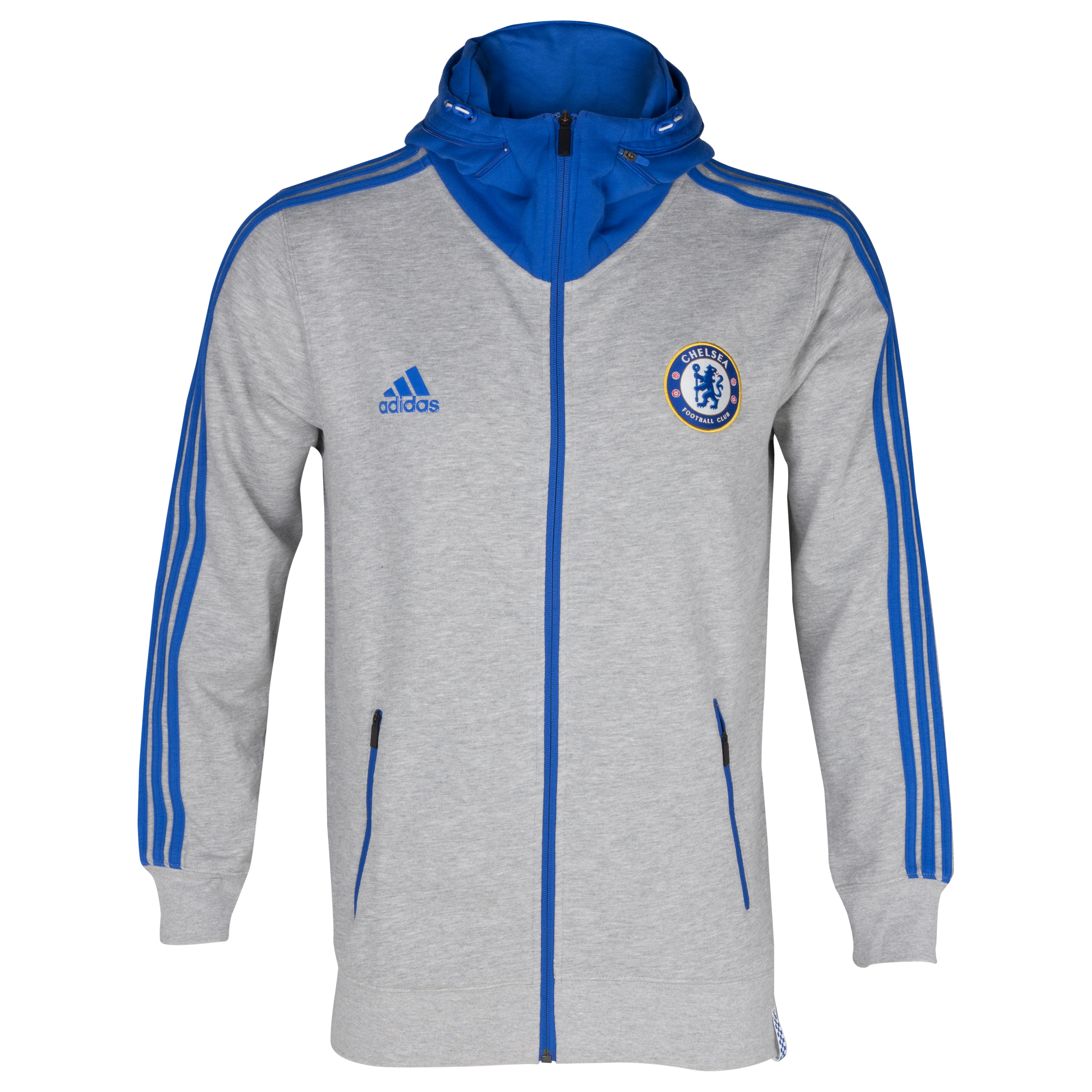 Chelsea Core Full Zip Hooded Top - Medium Grey Heather/Cfc Reflex Blue