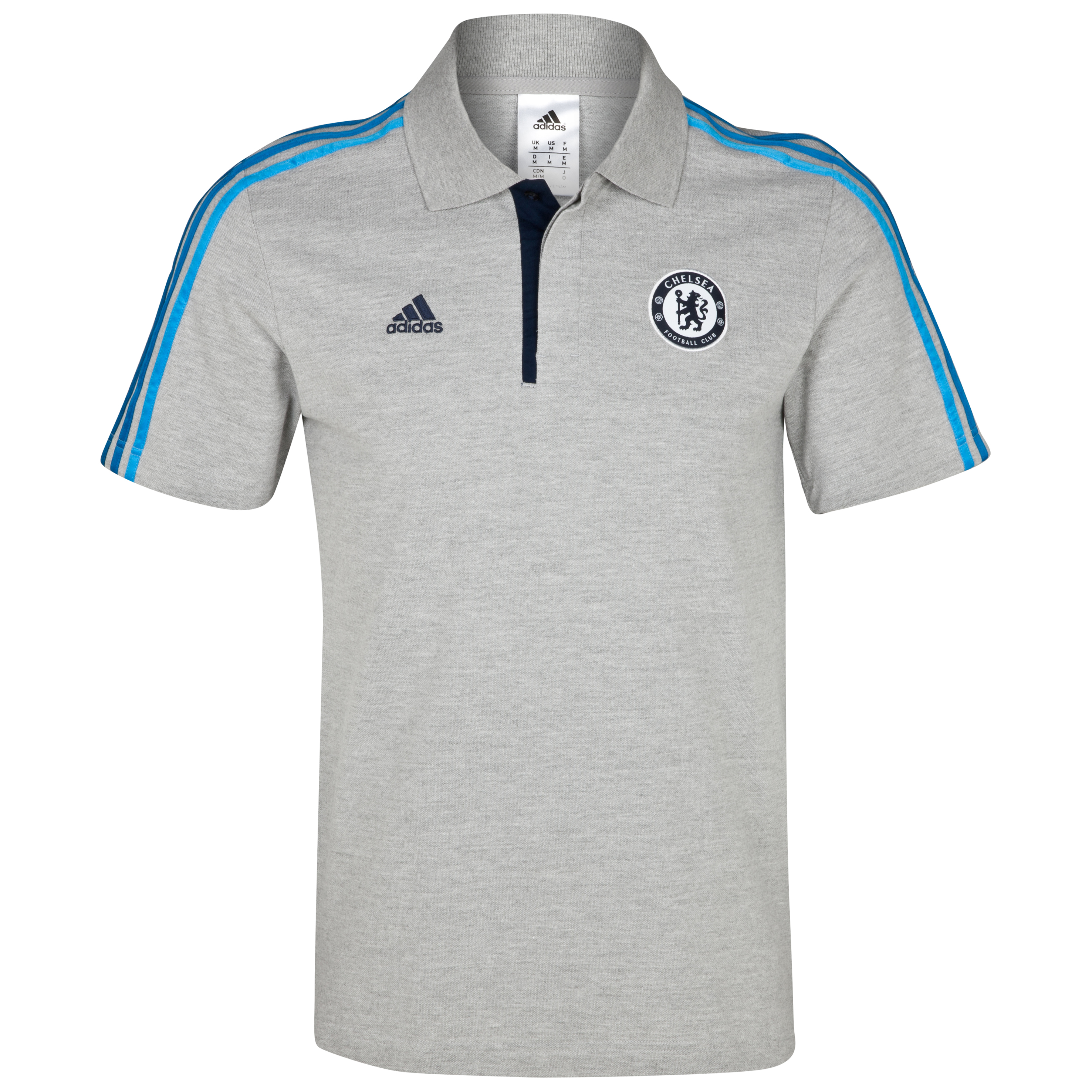 adidas Chelsea Core Polo - Medium Grey Heather/Cyan S09