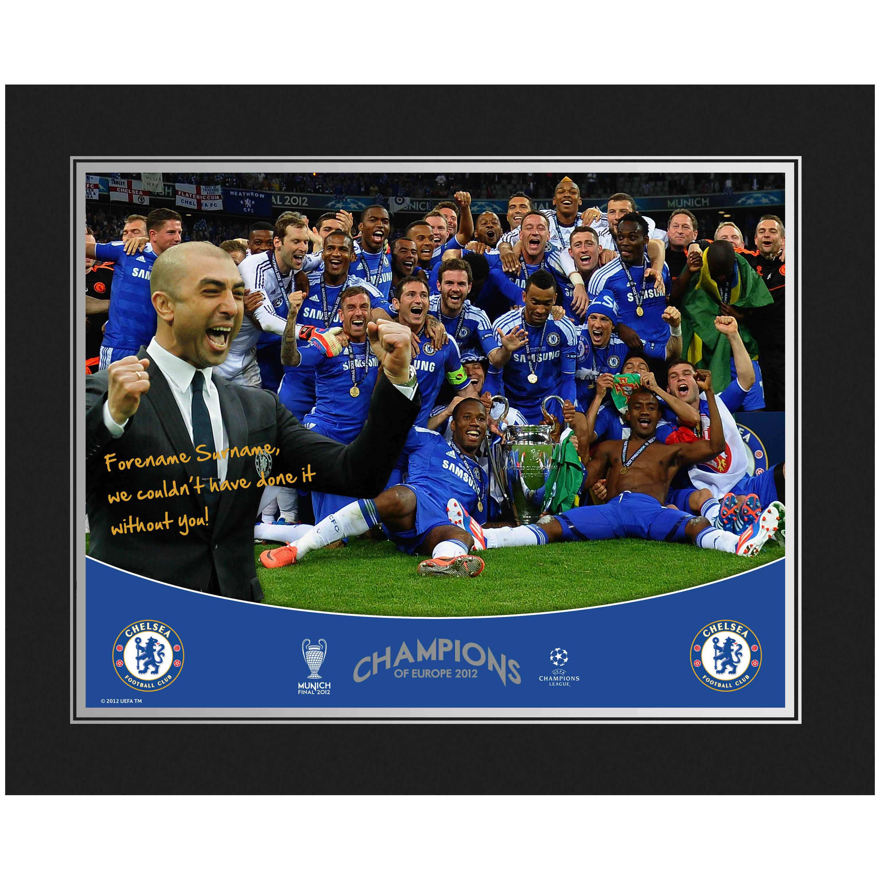 Chelsea Personalised Champions Photo in Presentation Folder