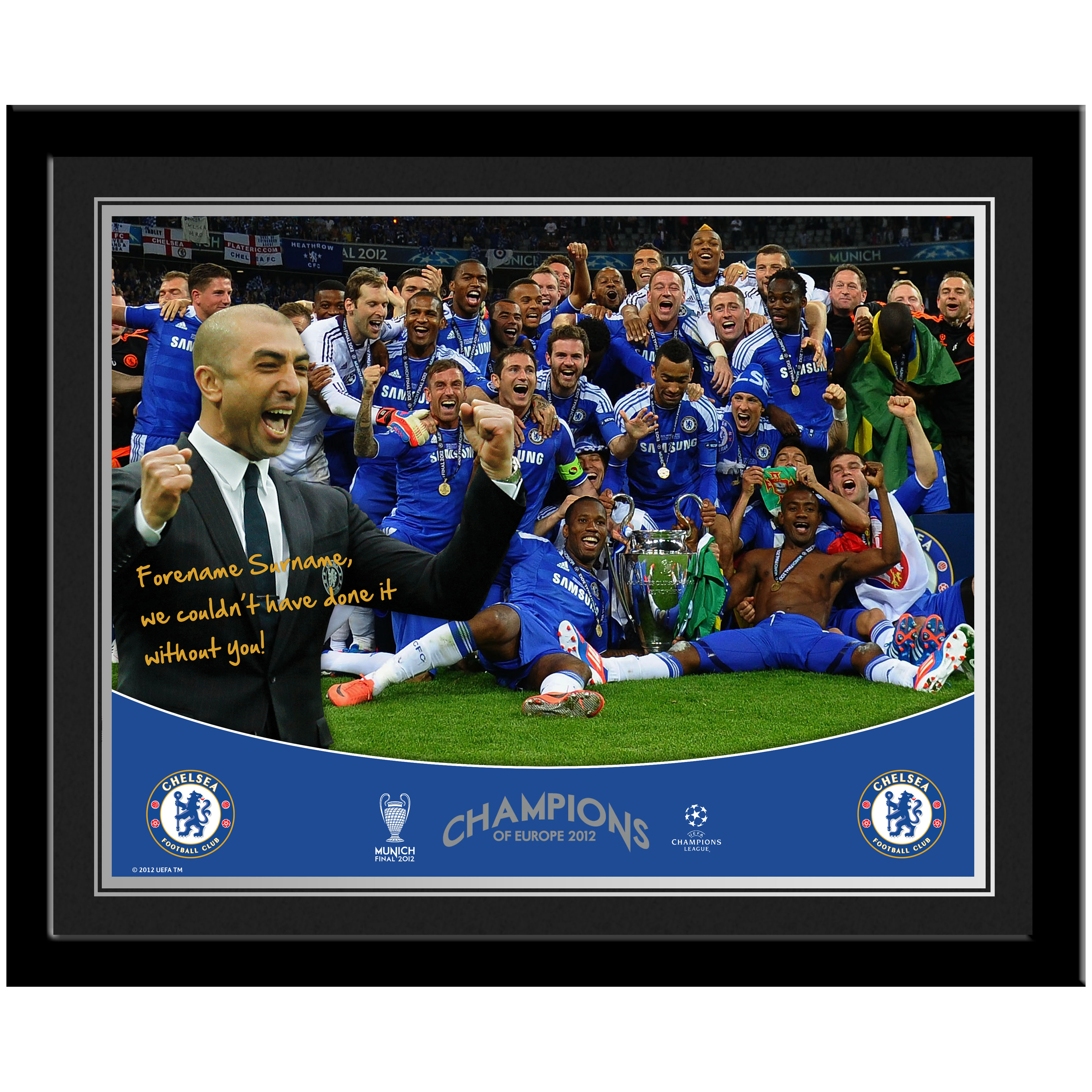 Chelsea Personalised Champions Photo Mounted and Framed