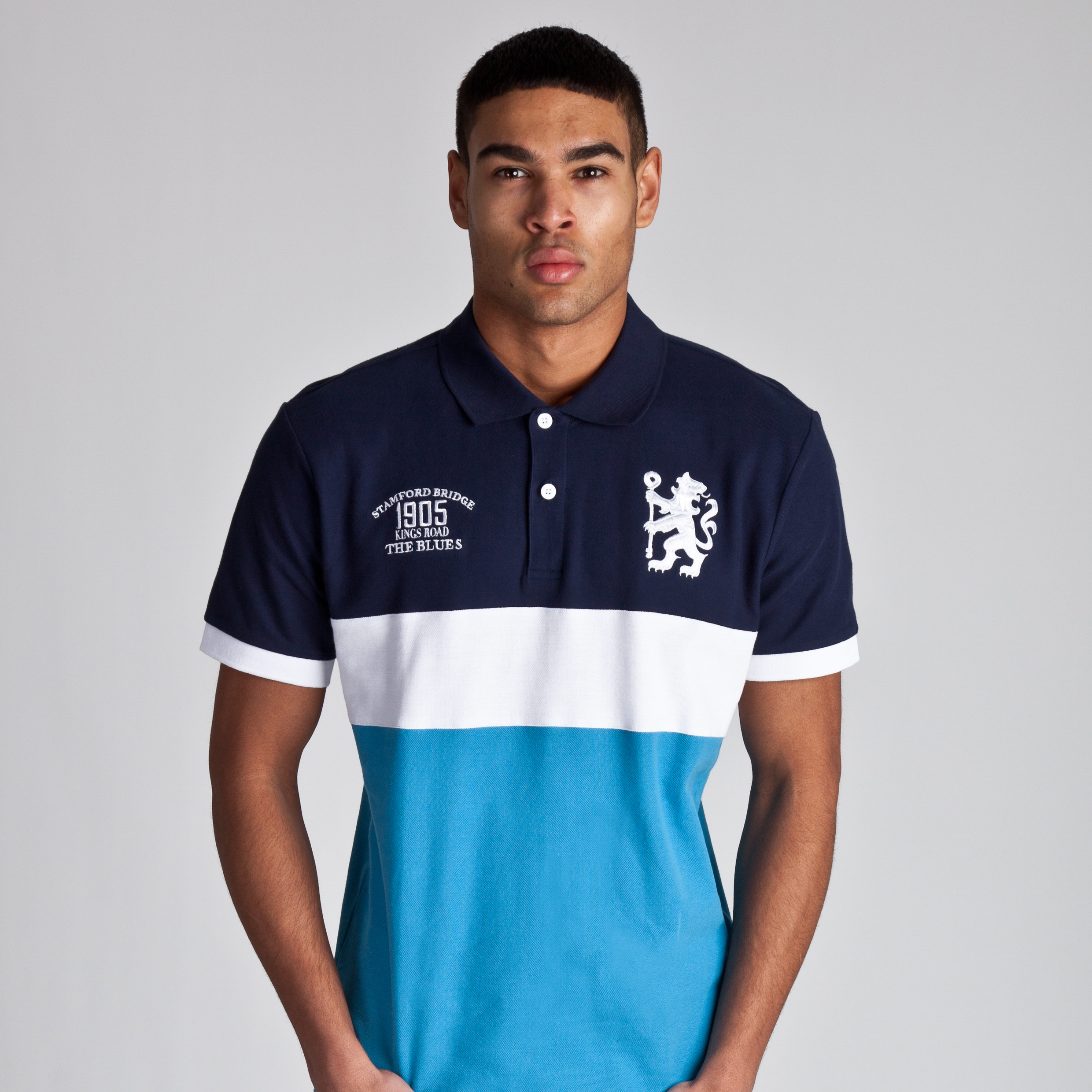 Chelsea Heritage Colour Block Polo - Navy/Surf Blue