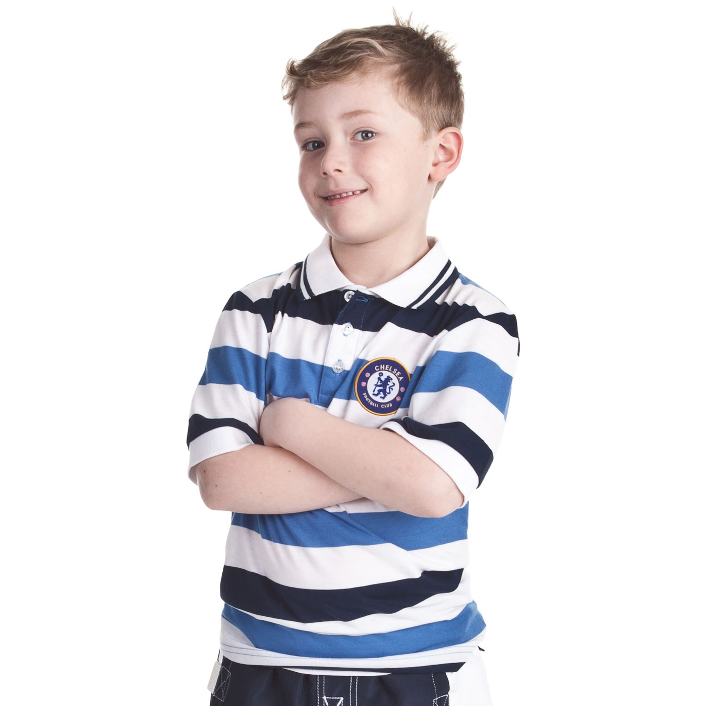 Chelsea Fashion Yarn Dye Striped Polo - White/Navy/Strong Blue - Older Boys