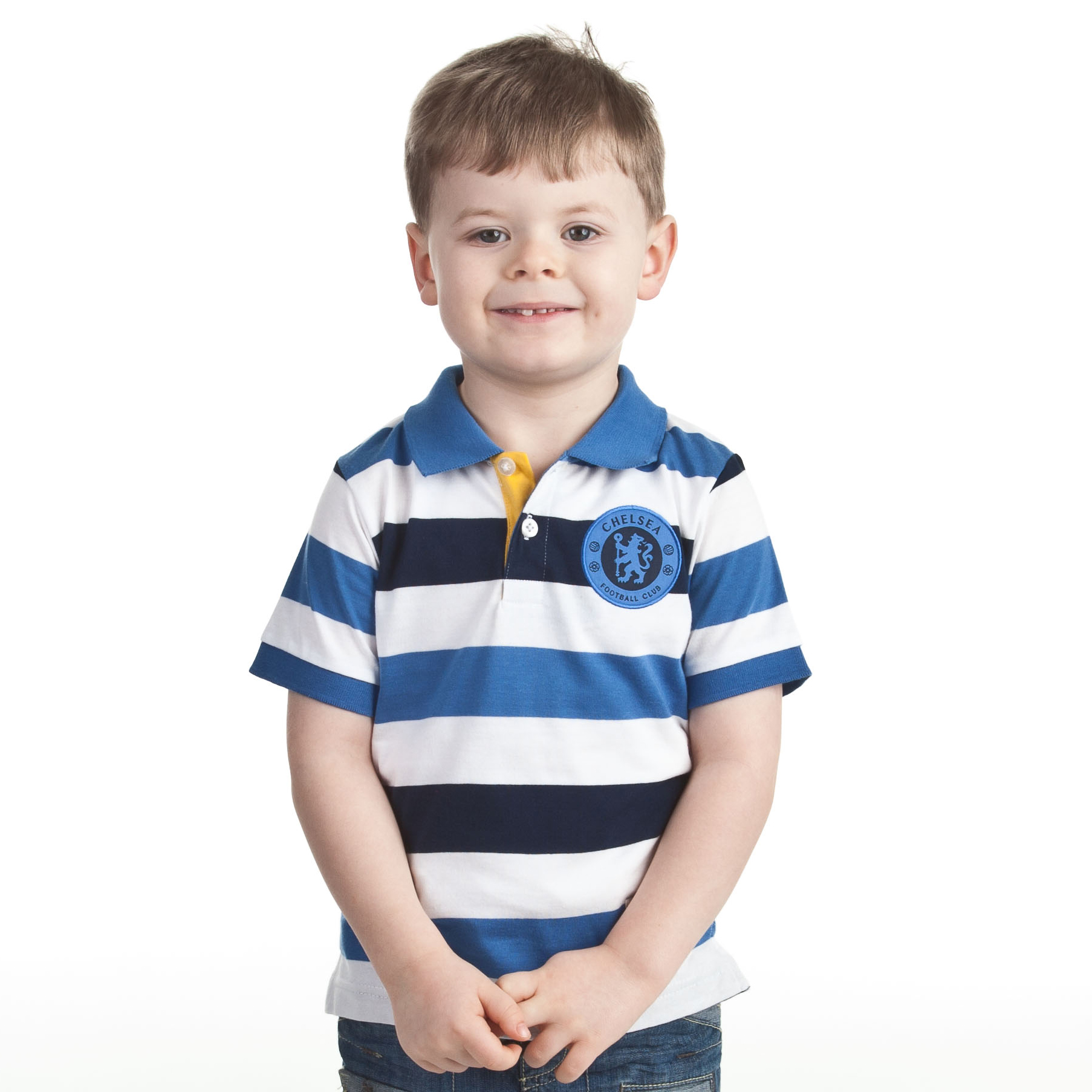 Chelsea  Fashion Yarn Dye Striped Polo - White/Strong Blue/Navy - Infant Boys