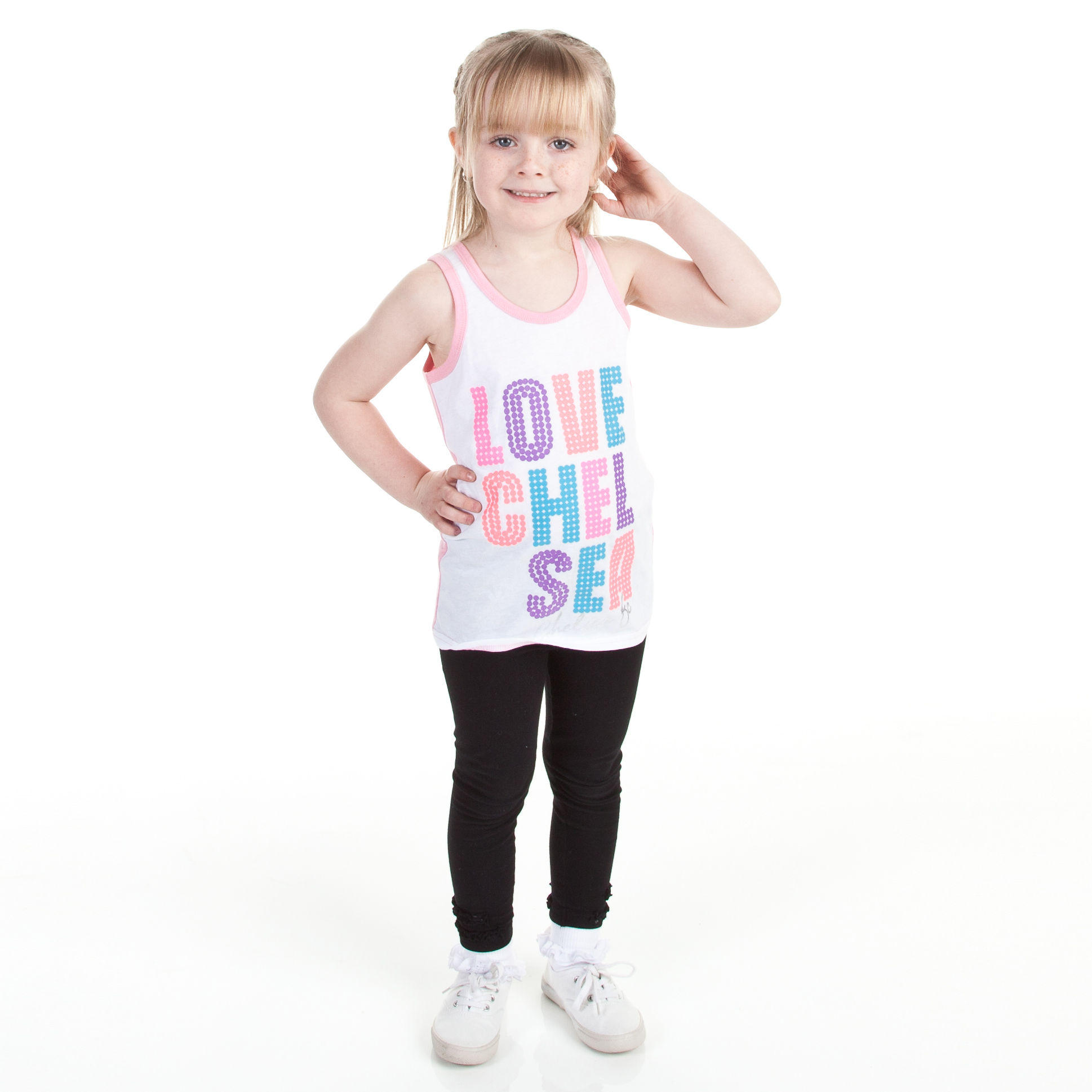 Chelsea Contrast Back Love Graphic Vest - White - Infant Girls