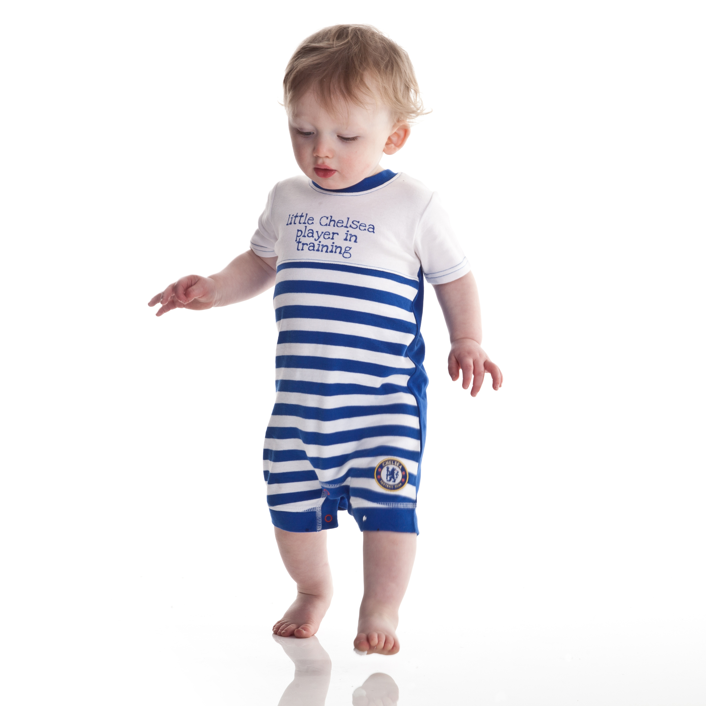 Chelsea Romper and Dribbler Set - White/Reflex Blue - Baby Boys