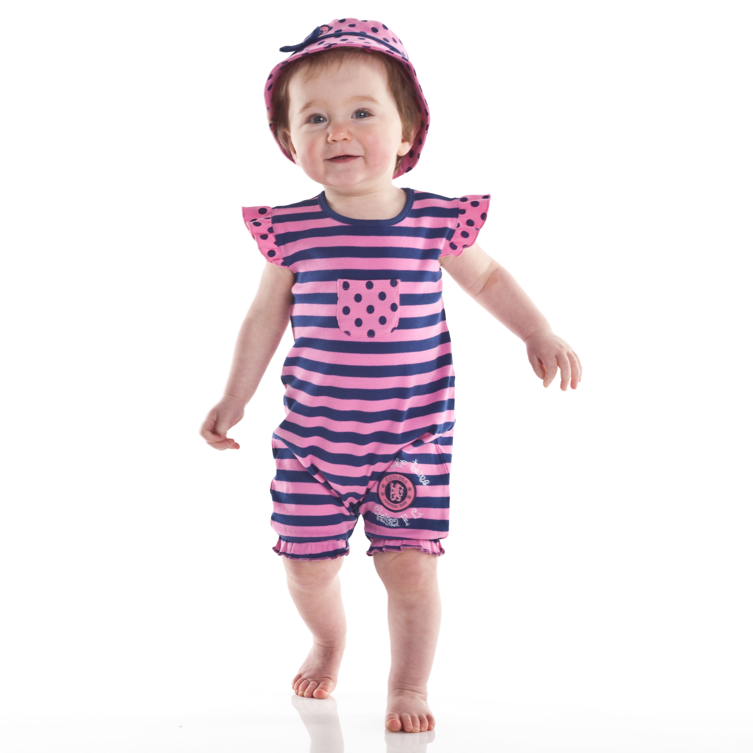 Chelsea Striped Romper and Hat Set - Sugar Pink/Navy - Baby Girls