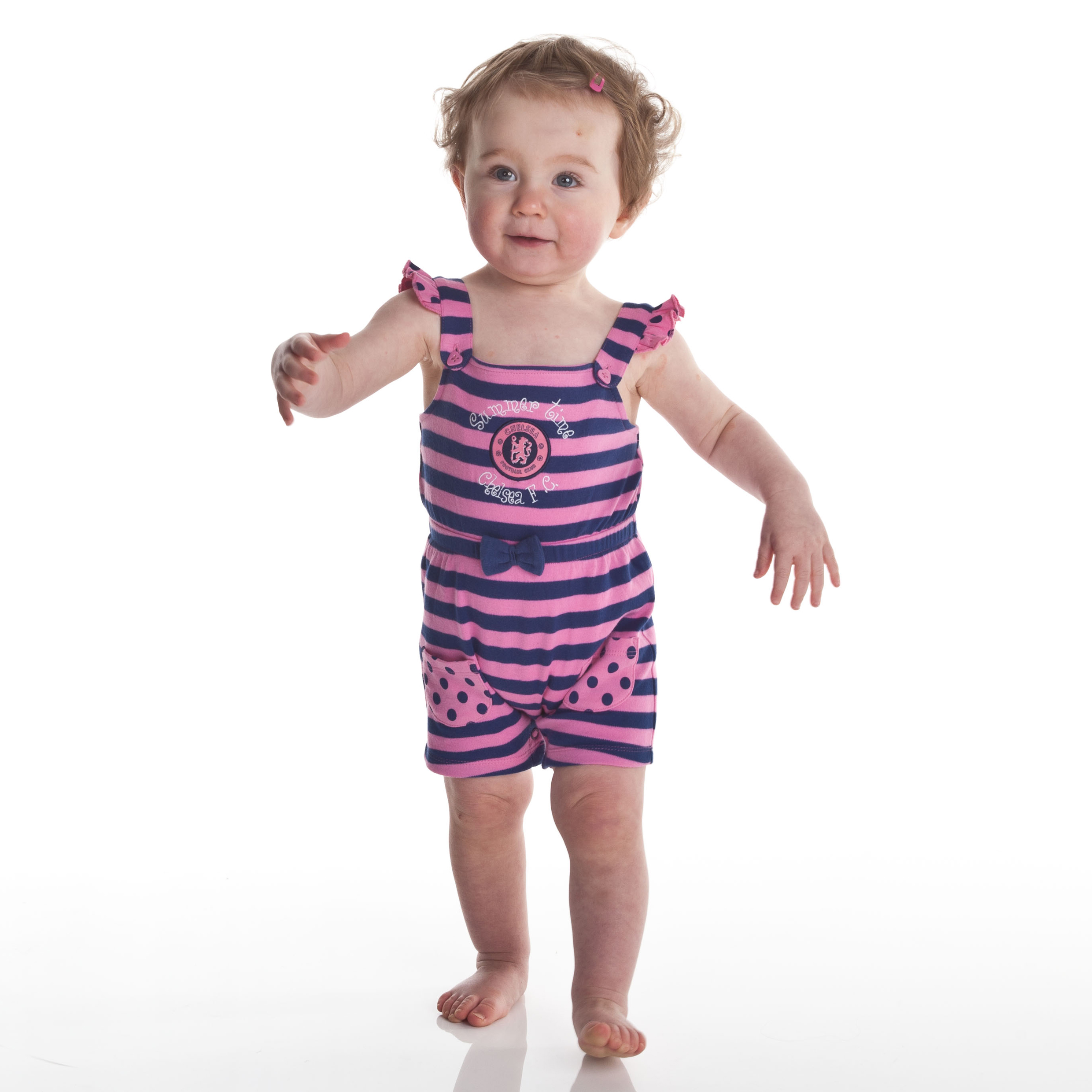 Chelsea Striped Playsuit - Sugar Pink/Navy - Baby Girls