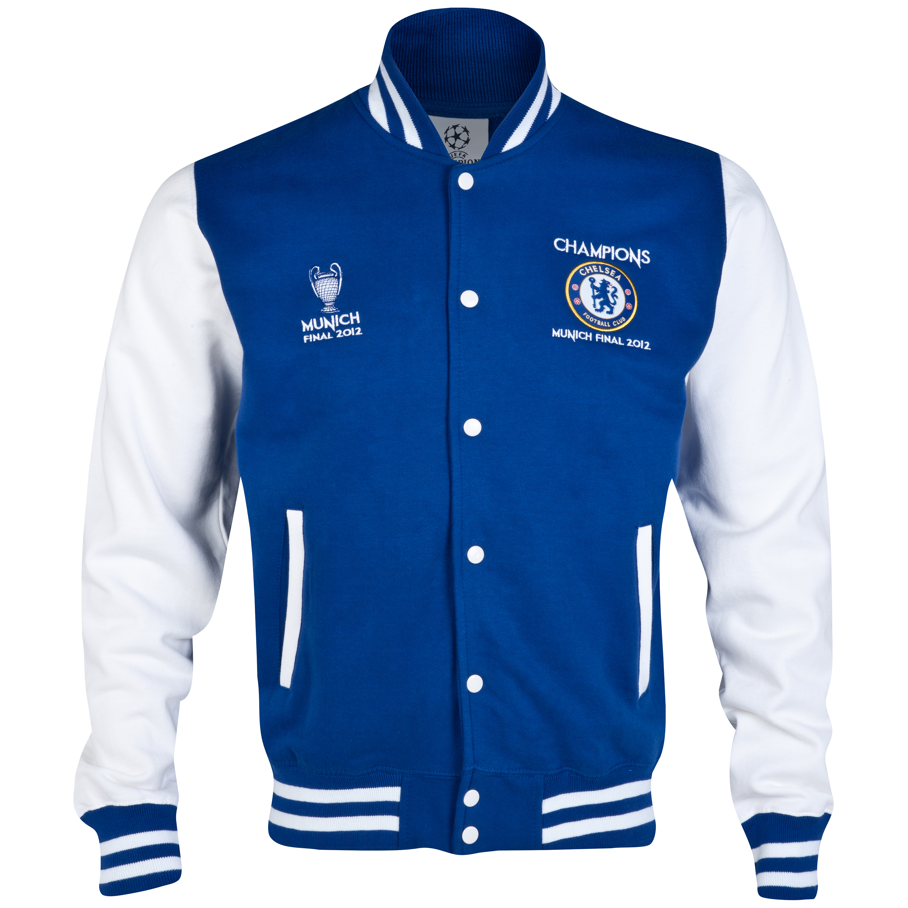 Chelsea UEFA Champions League Printed Varsity Baseball Jacket - Royal / White