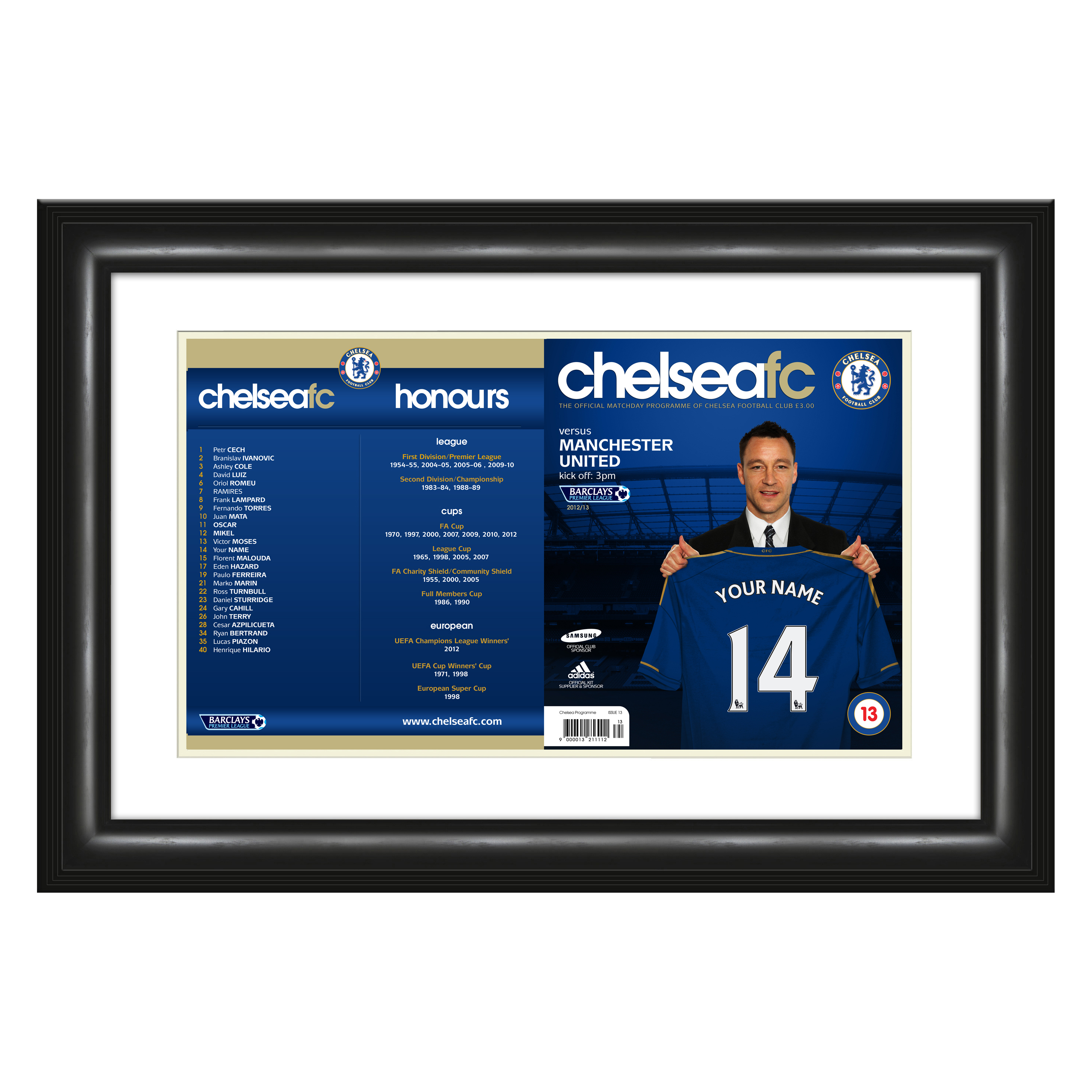 Chelsea Personalised Fan of the Match - Match Day Programme