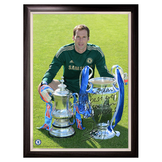 Chelsea Personalised Cech and Cups Poster  Framed