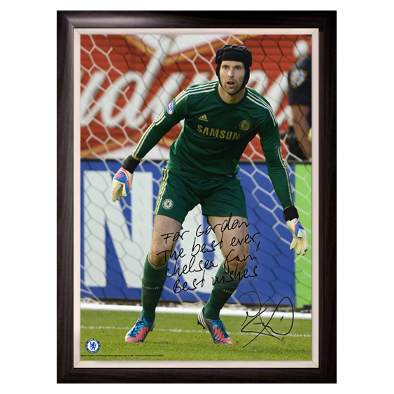 Chelsea Personalised Cech Action Poster Framed