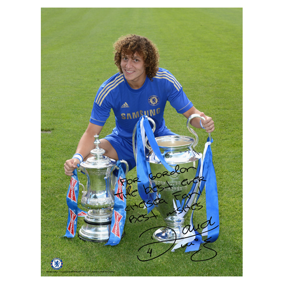 Chelsea Personalised Luiz and Cups Poster
