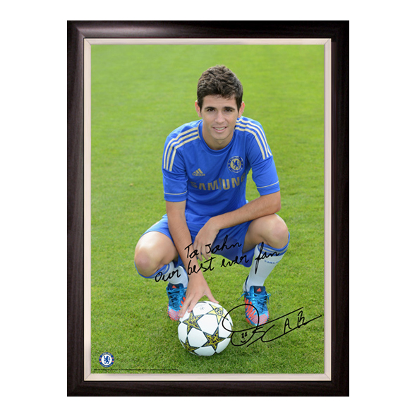 Chelsea Personalised Oscar and Ball  Poster Framed