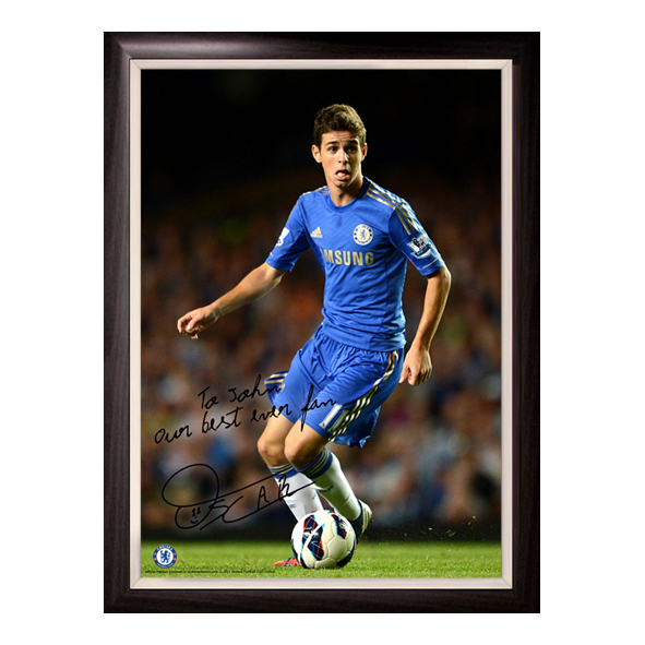 Chelsea Personalised Oscar In Action Poster Framed