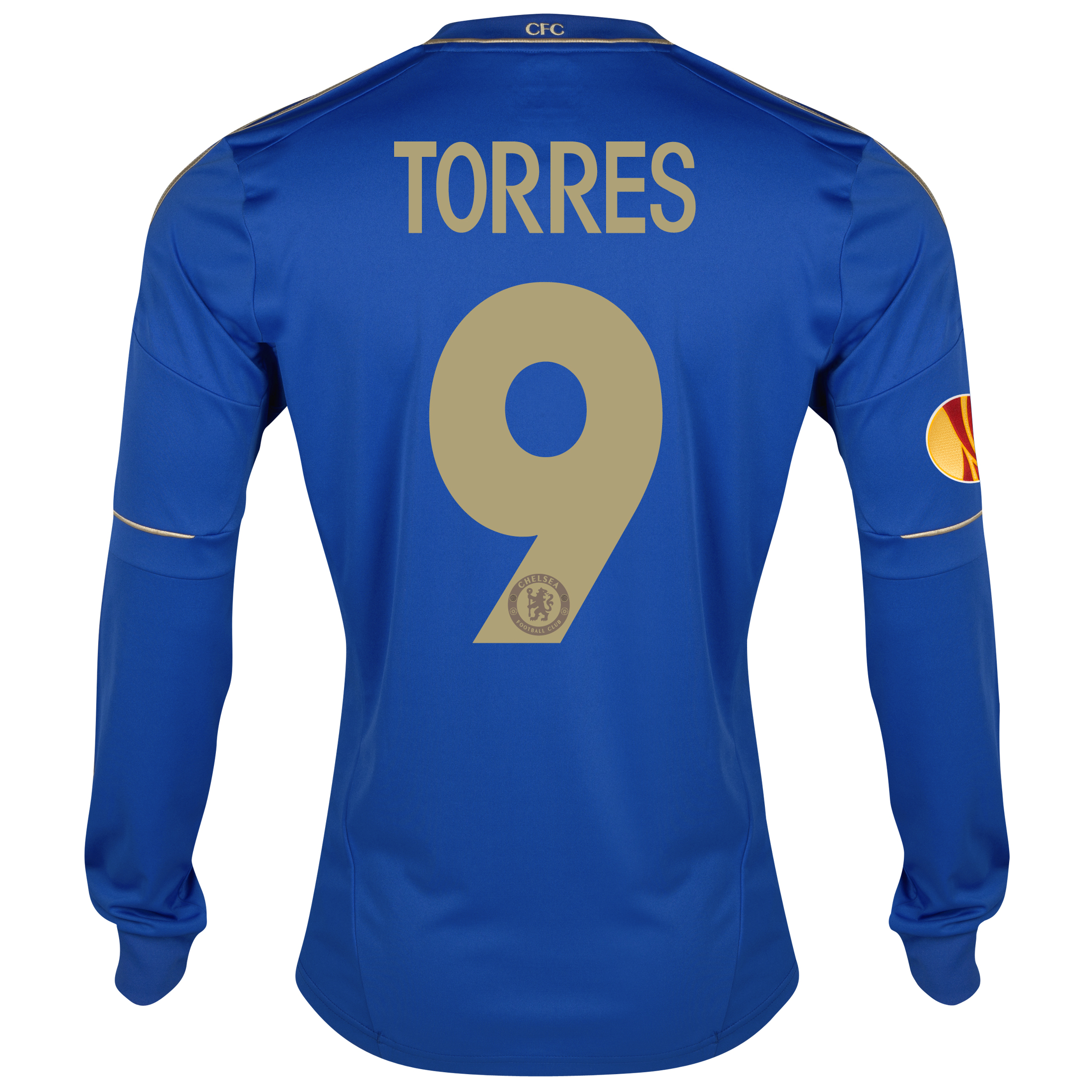 Chelsea UEFA Europa League Home Shirt 2012/13 - Long Sleeved with Torres 9 printing Including Europa Badge