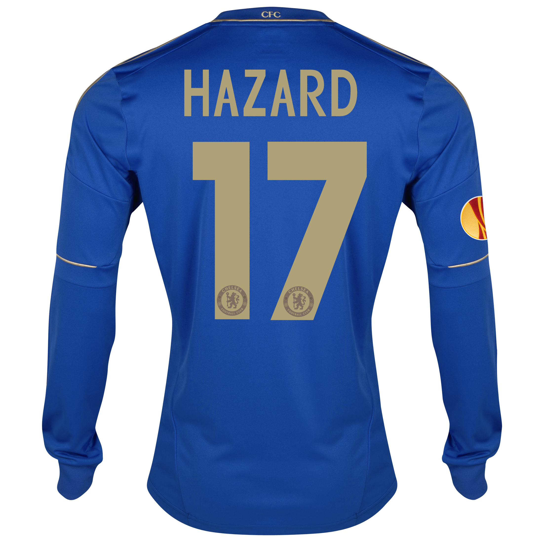Chelsea UEFA Europa League Home Shirt 2012/13 - Long Sleeved with Hazard 17 printing Including Europa Badge