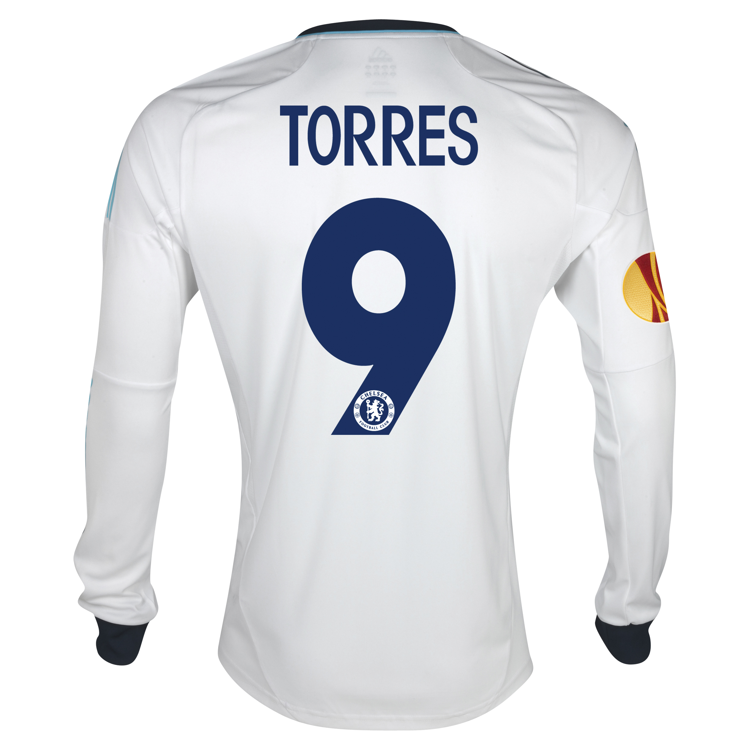 Chelsea UEFA Europa League Away Shirt 2012/13 - Long Sleeved with Torres 9 printing Including Europa Badge
