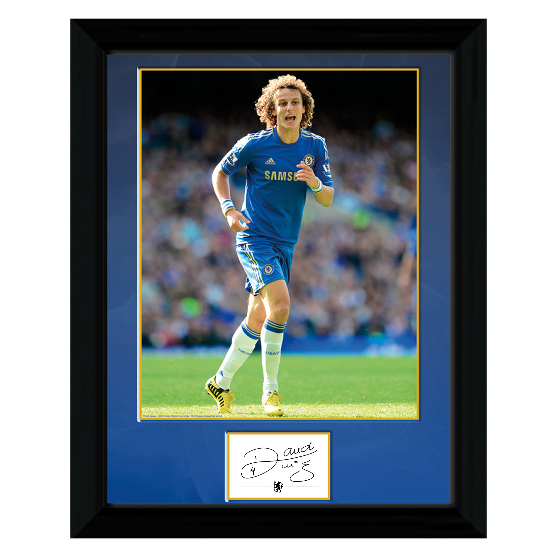 Chelsea David Luiz Signed Print - Framed - 16 x 12