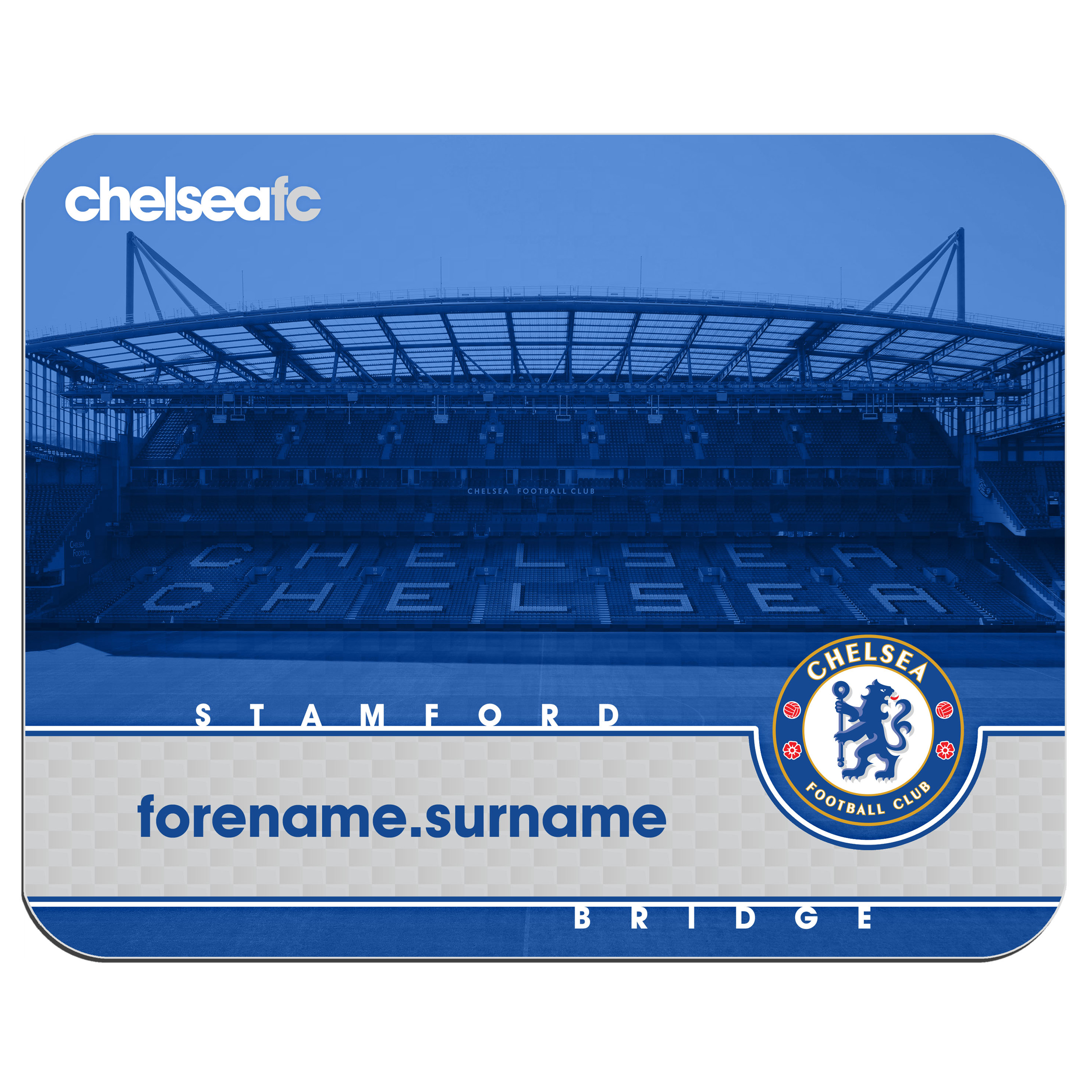 Chelsea Personalised Stamford Bridge Mouse Mat - Blue