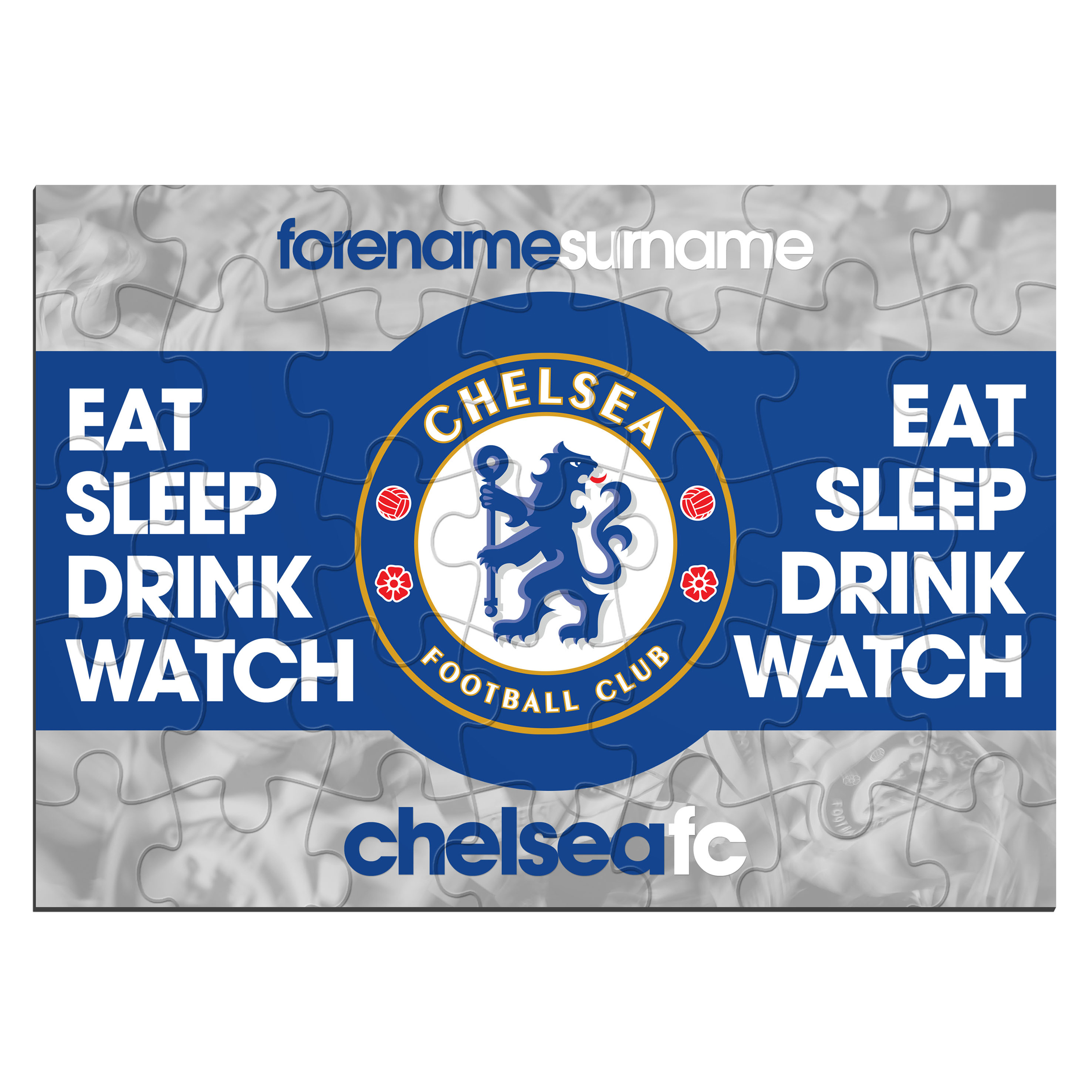 Chelsea Personalised Eat Sleep Drink Watch Jigsaw