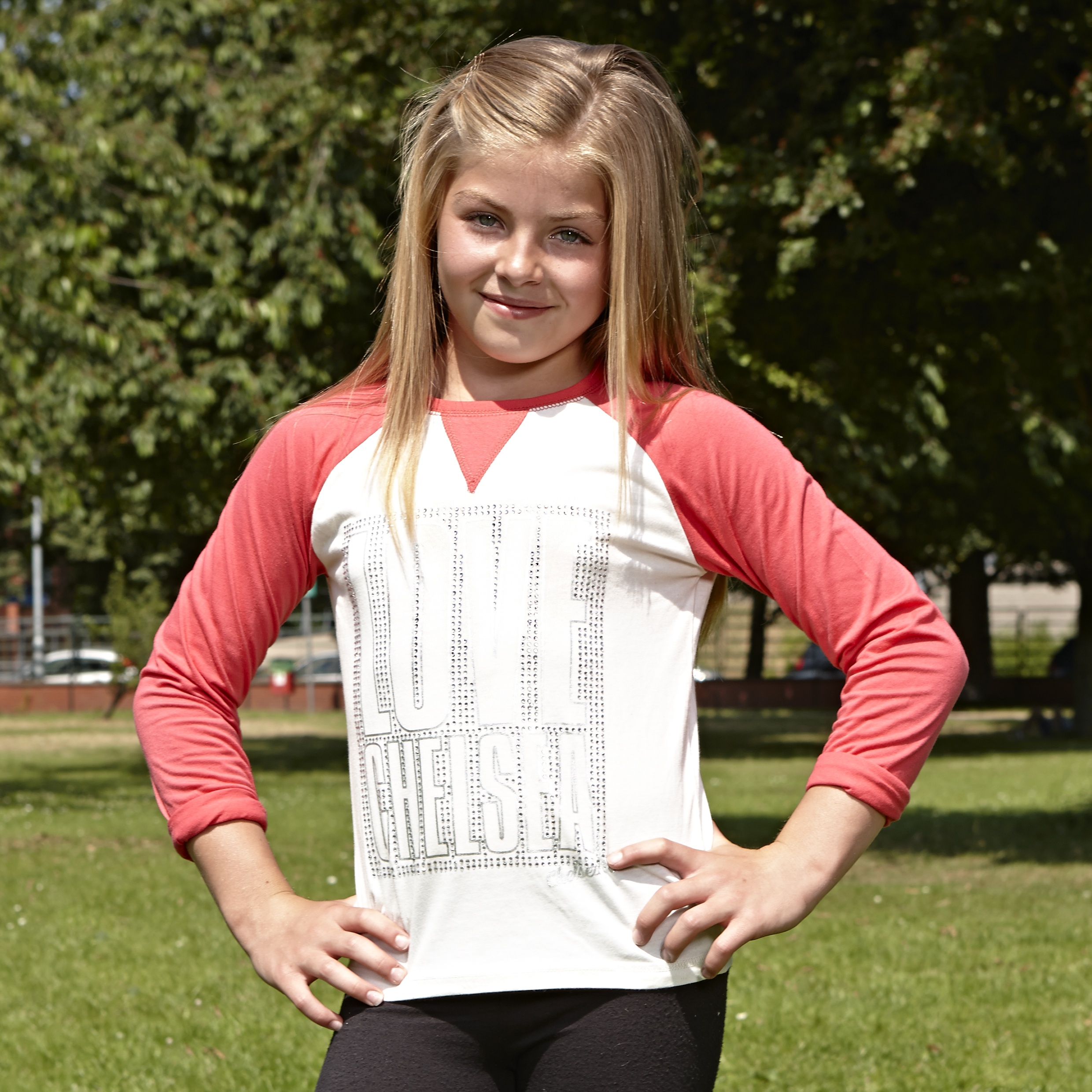 Chelsea Raglan Long Sleeve Graphic T-Shirt  - Older Girls Beige