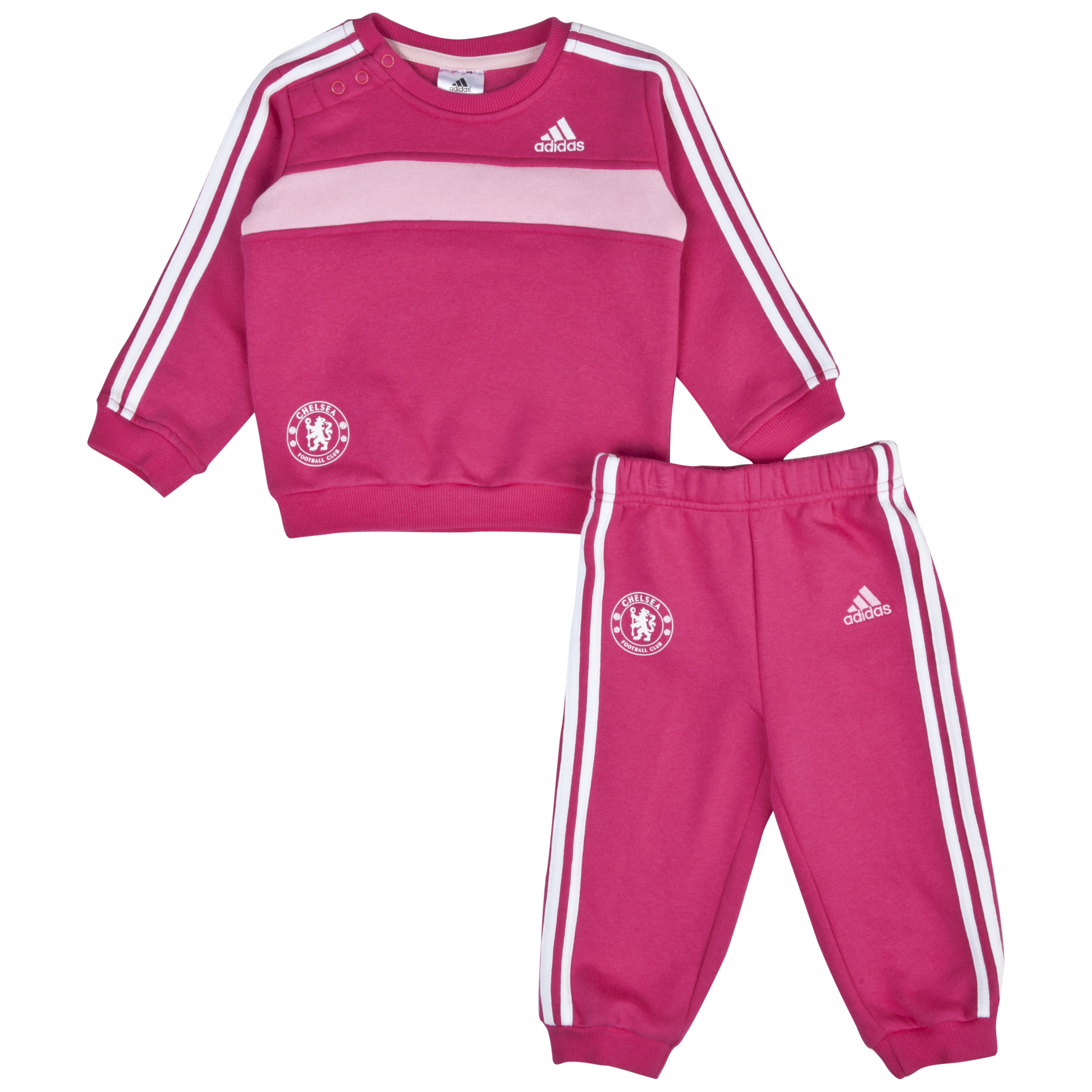 Chelsea adidas 3 Stripe Knitted Jogsuit Baby Girls Pink